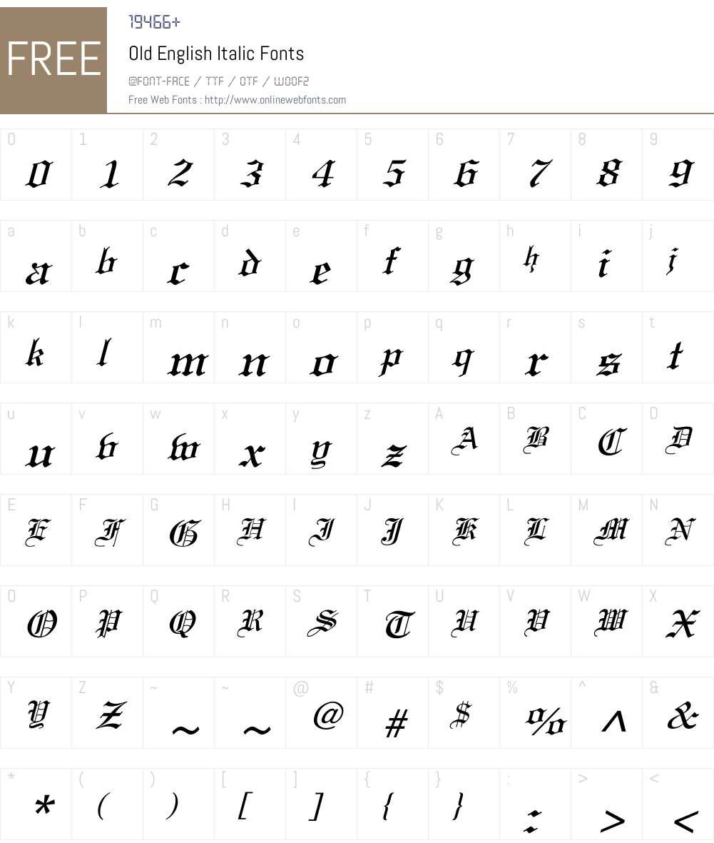 Old English Italic Font Screenshots