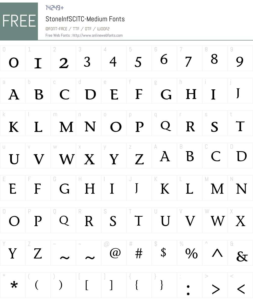 StoneInfSCITC Font Screenshots
