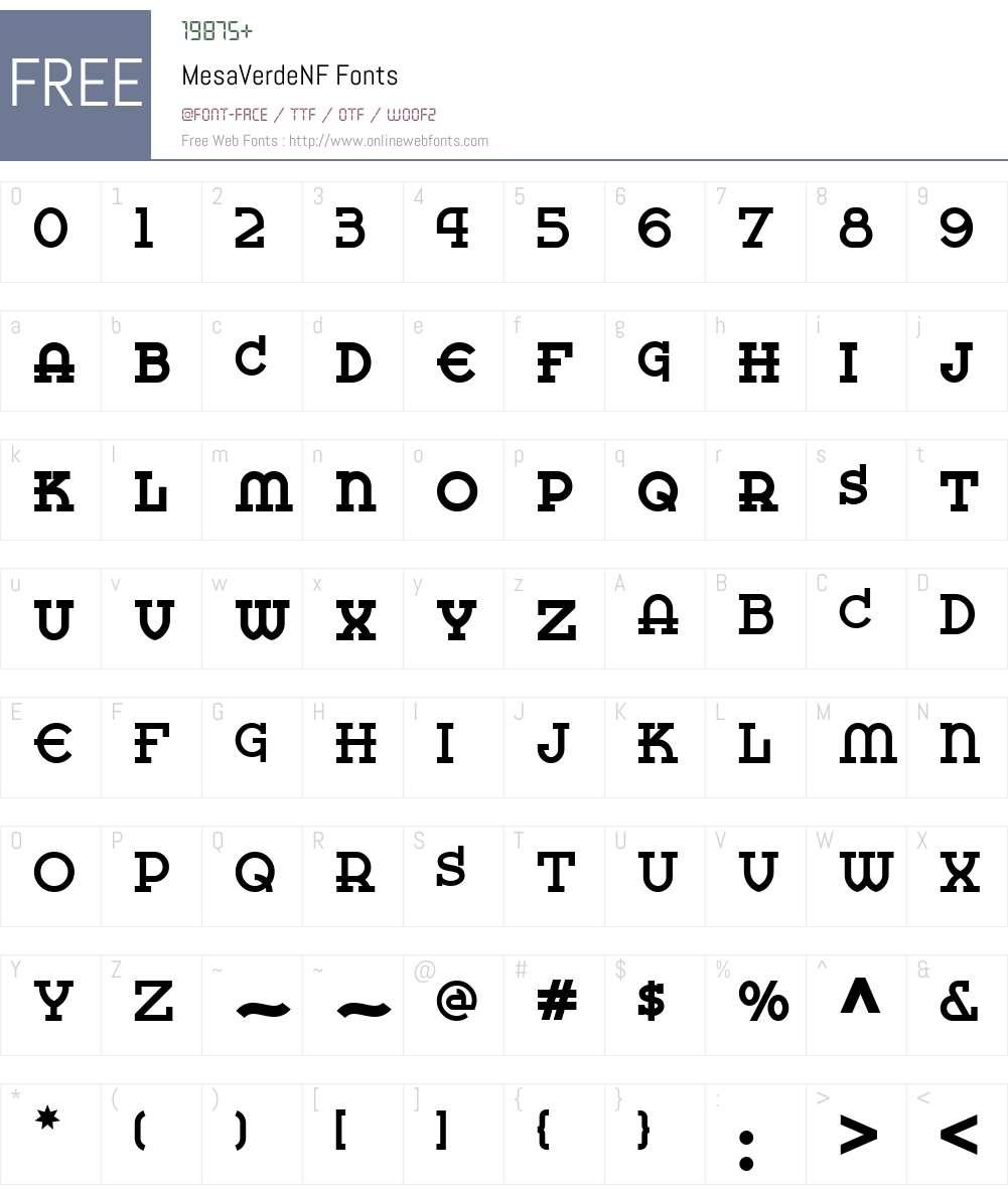 MesaVerdeNF Font Screenshots