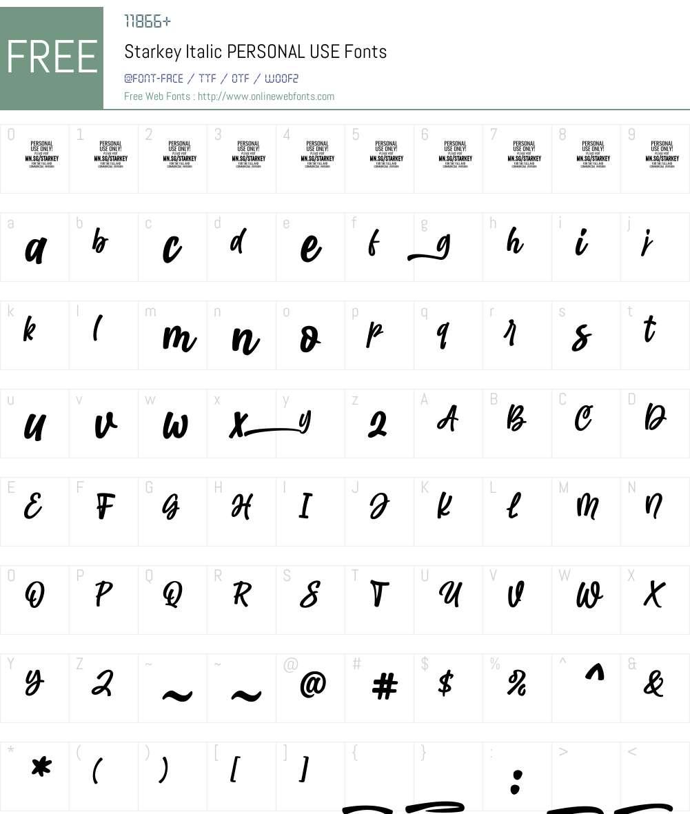 Starkey Italic PERSONAL USE Font Screenshots