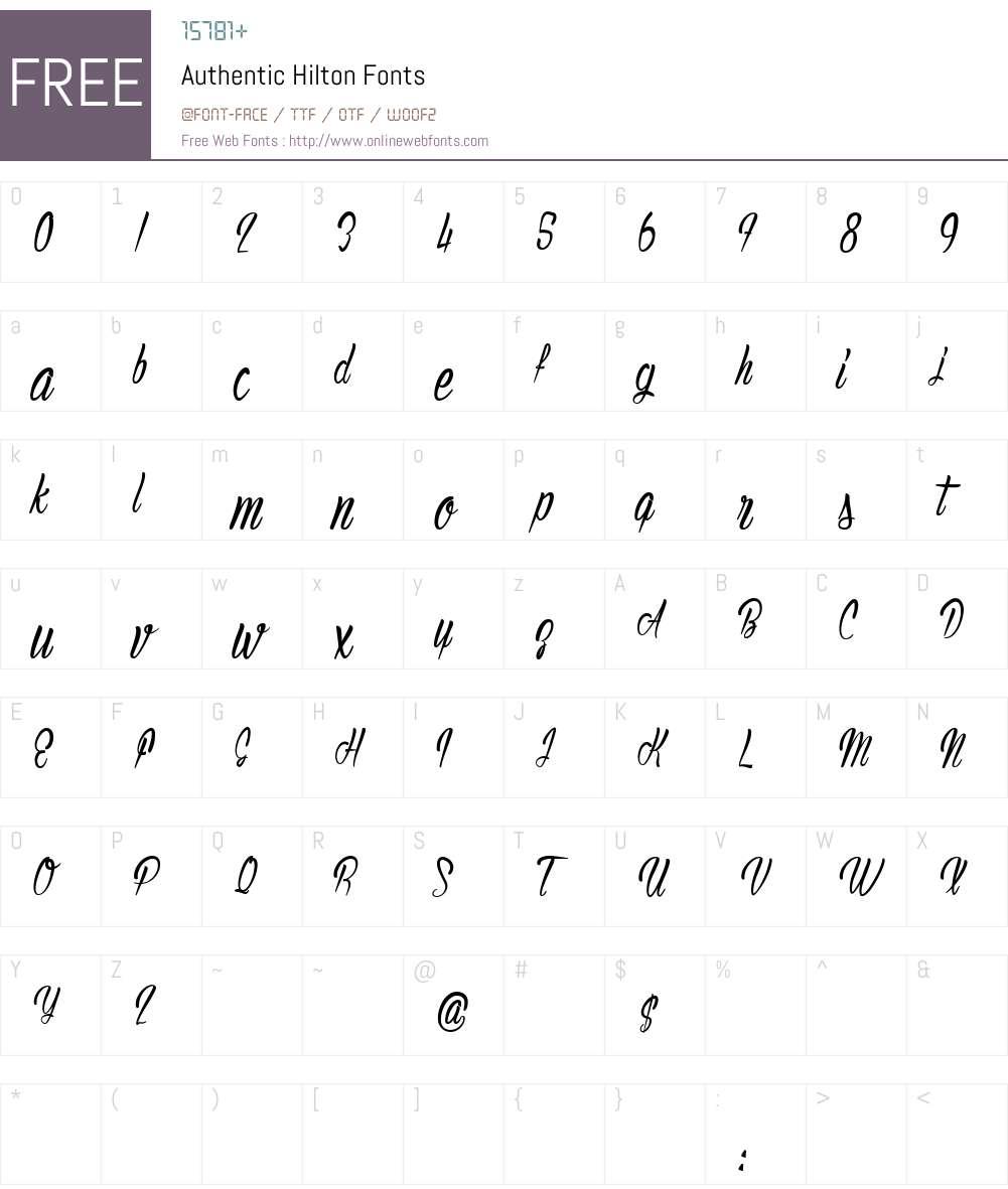 Authentic Hilton Font Screenshots