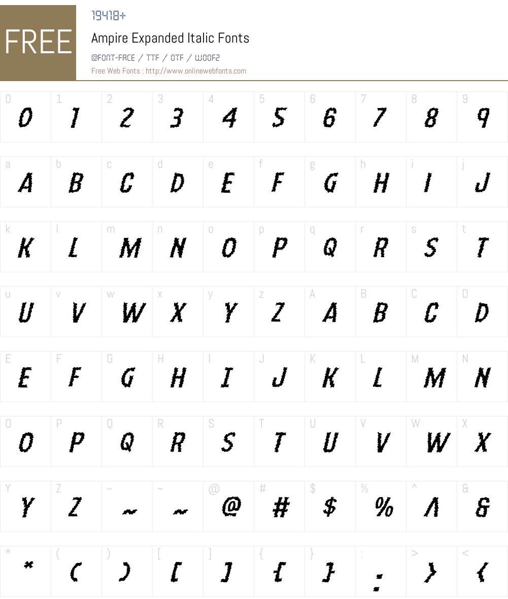 Ampire Expanded Italic Font Screenshots