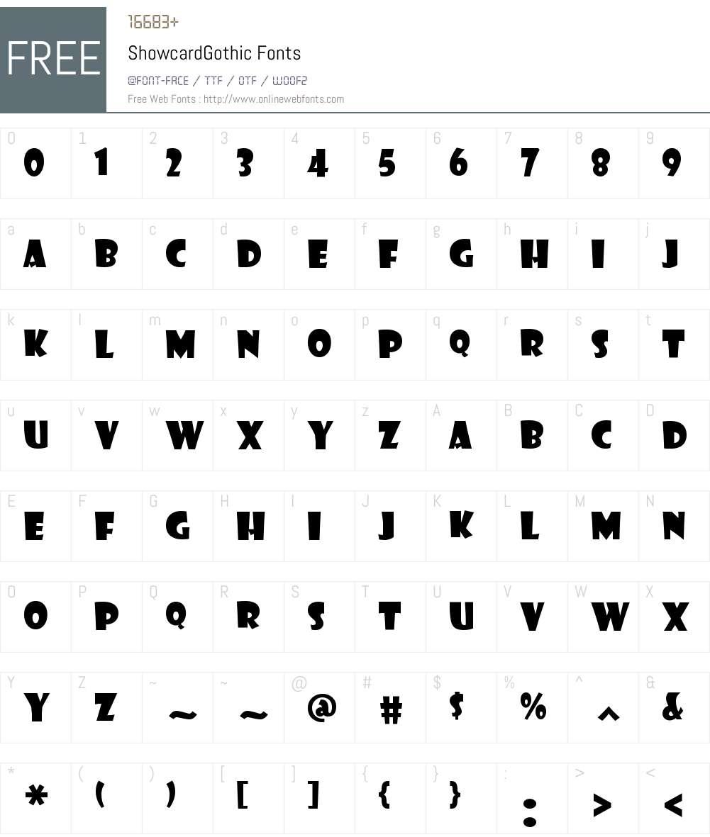 Showcard Gothic Font Screenshots