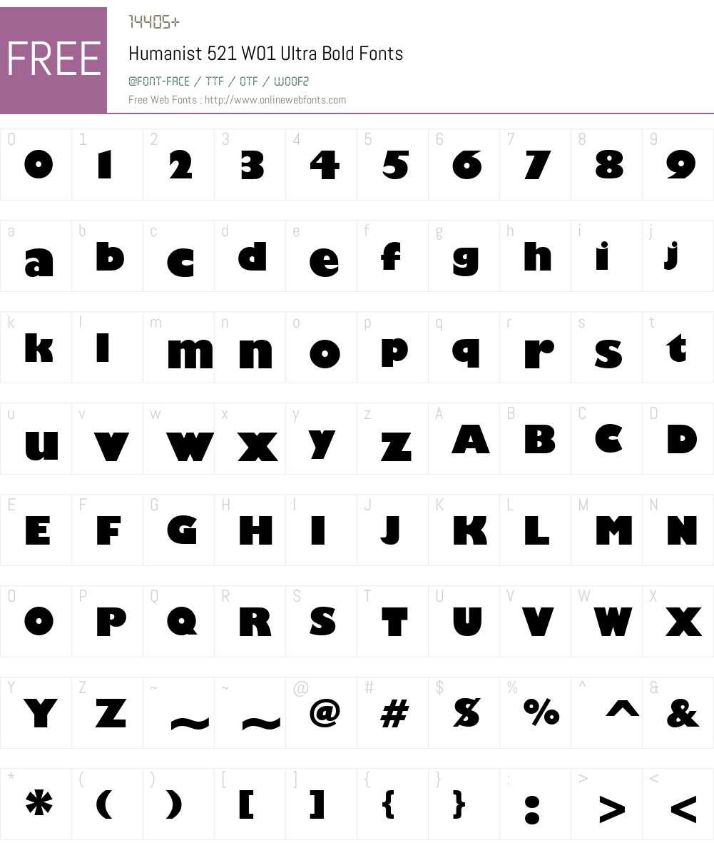 Humanist521W01-UltraBold Font Screenshots