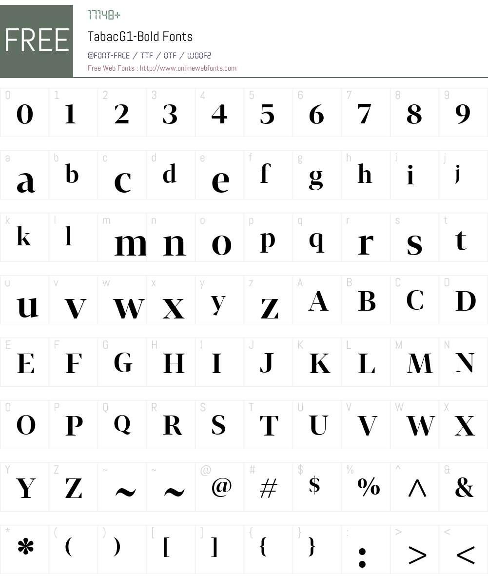 TabacG1-Bold Font Screenshots