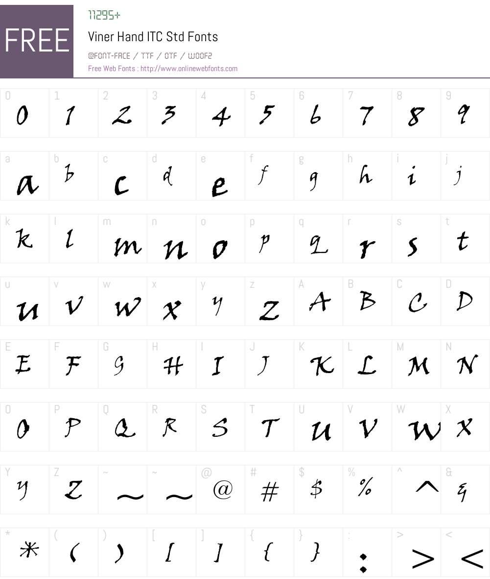 Viner Hand ITC Std Font Screenshots