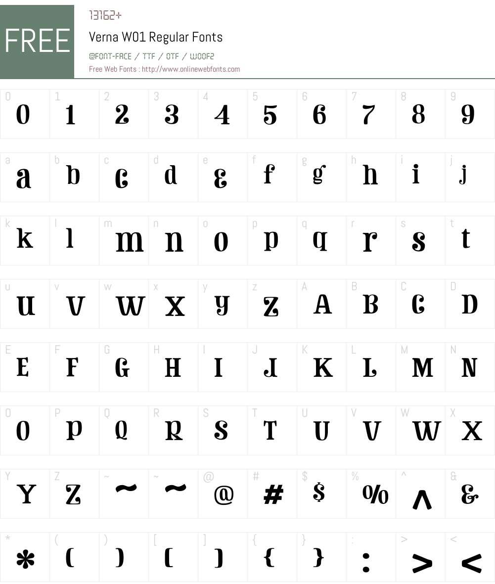 VernaW01-Regular Font Screenshots
