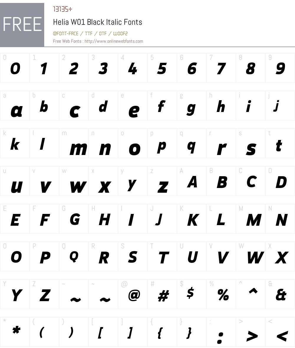 HeliaW01-BlackItalic Font Screenshots