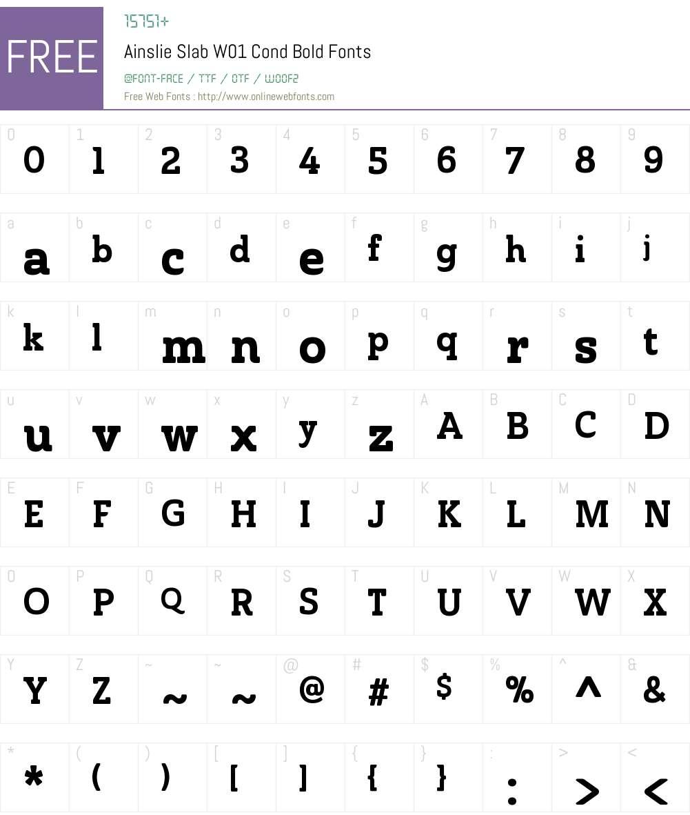 AinslieSlabW01-CondBold Font Screenshots