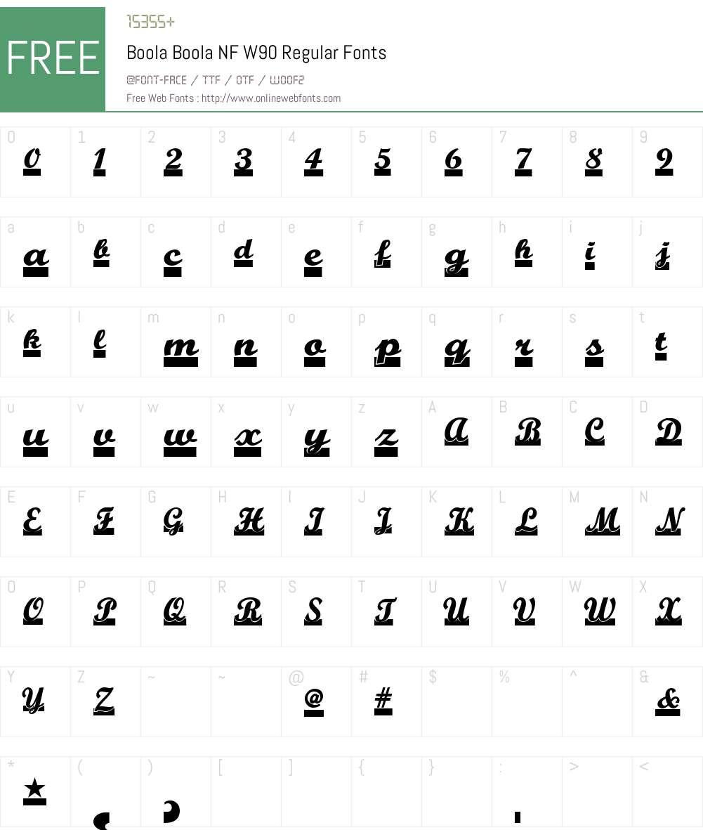 BoolaBoolaNFW90-Regular Font Screenshots