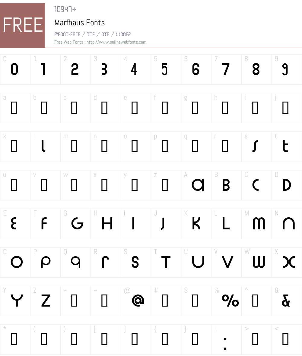 Marfhaus Font Screenshots