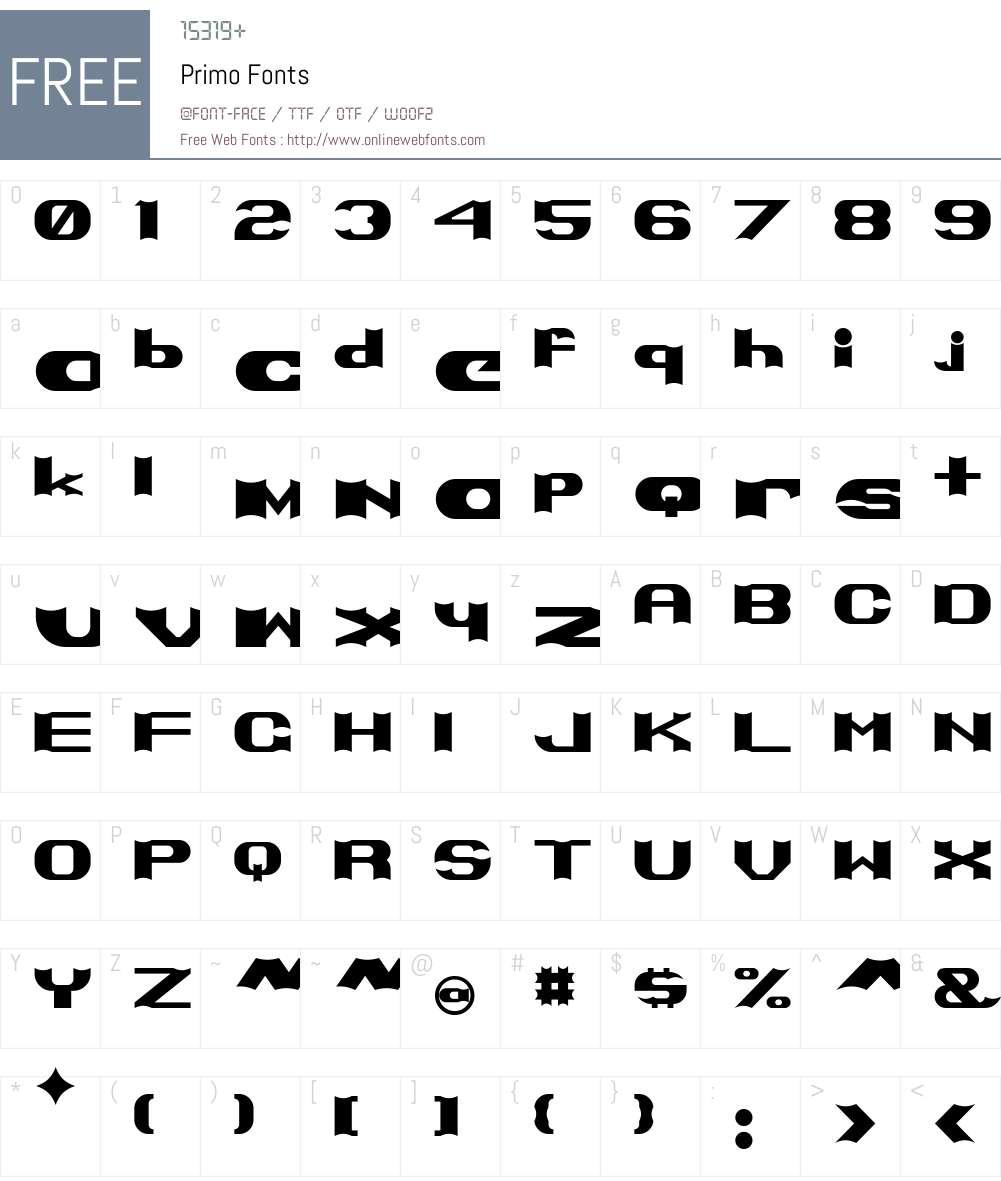 Primo Font Screenshots