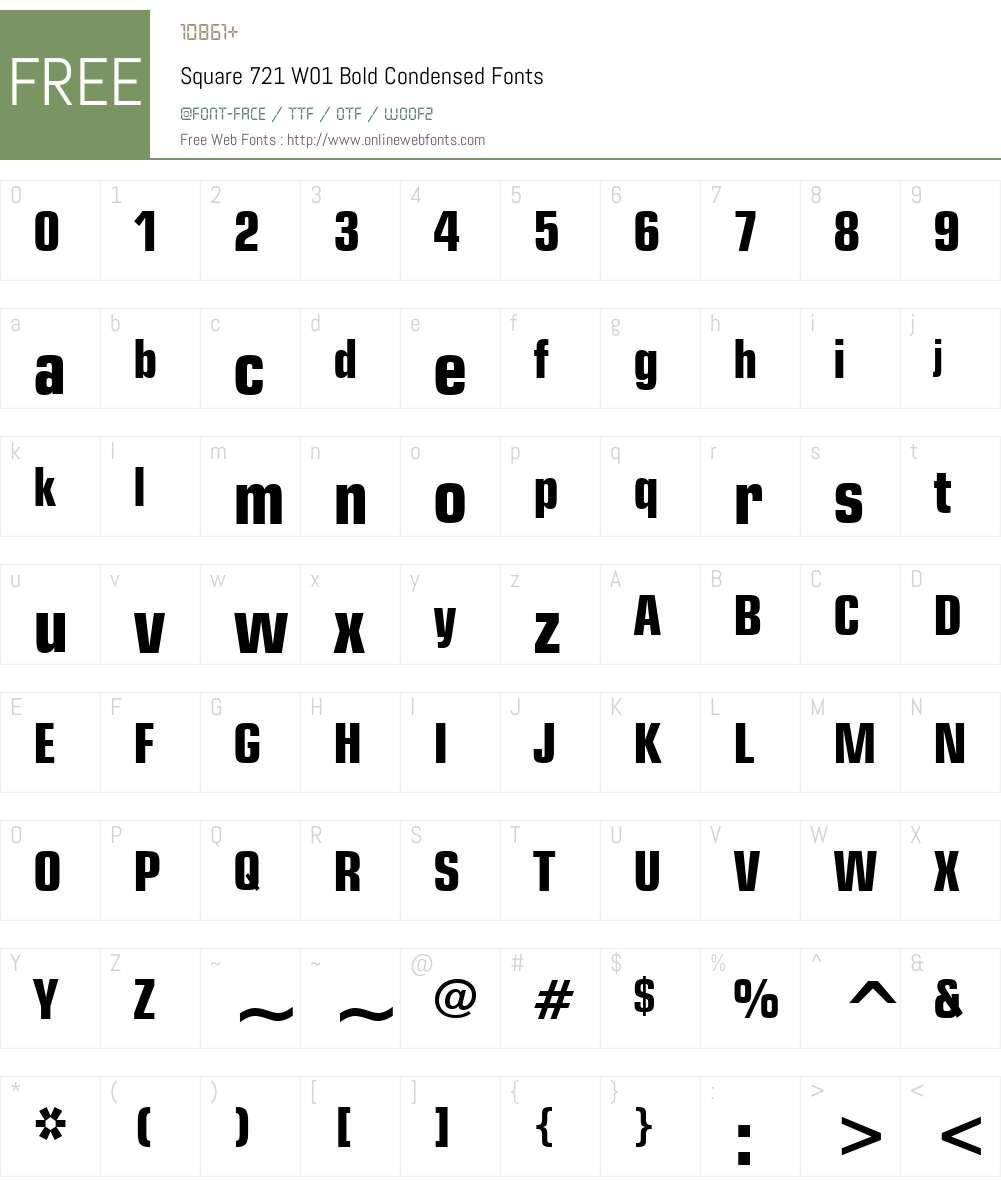 Square721W01-BoldCondensed Font Screenshots