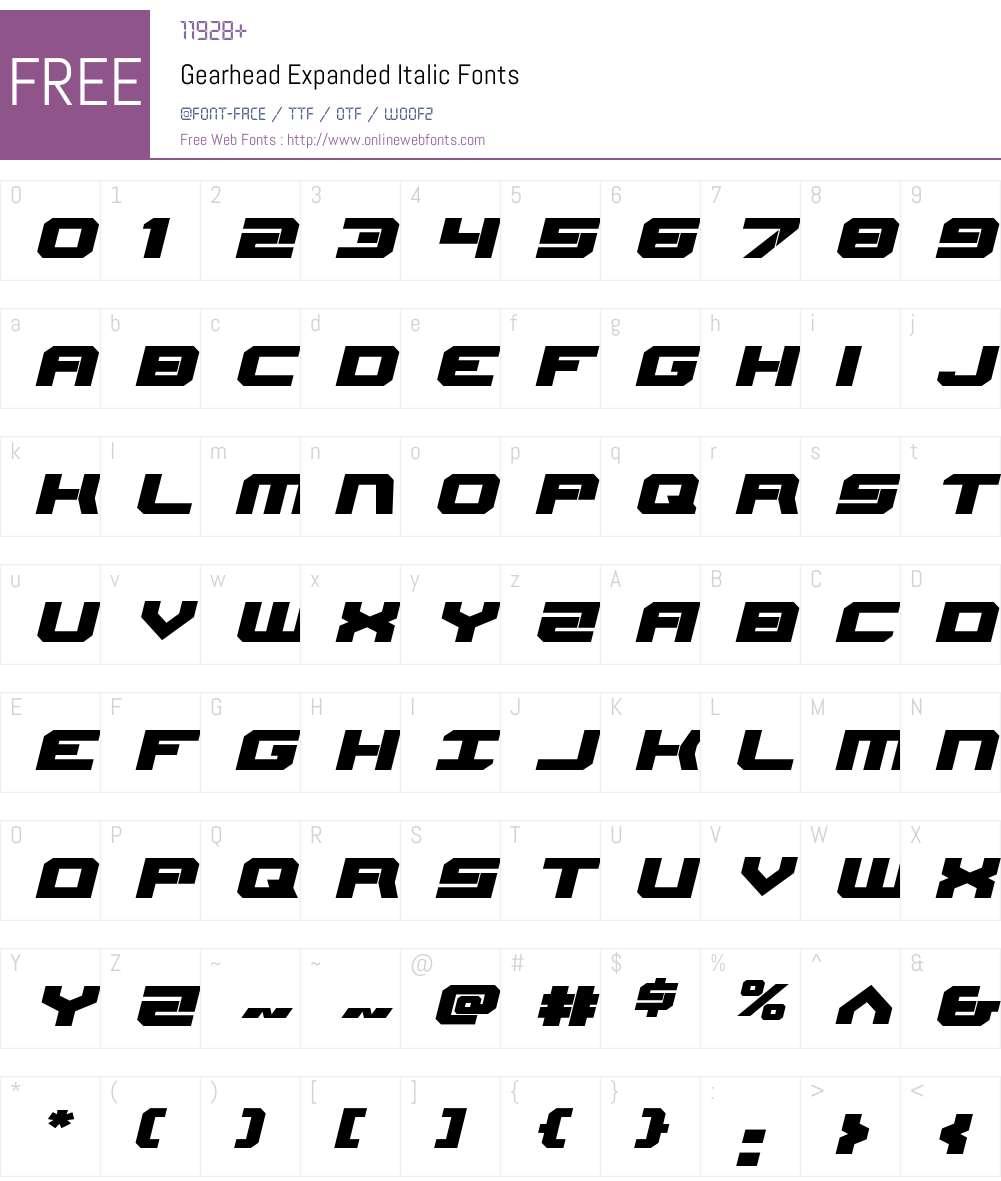 Gearhead Expanded Italic Font Screenshots