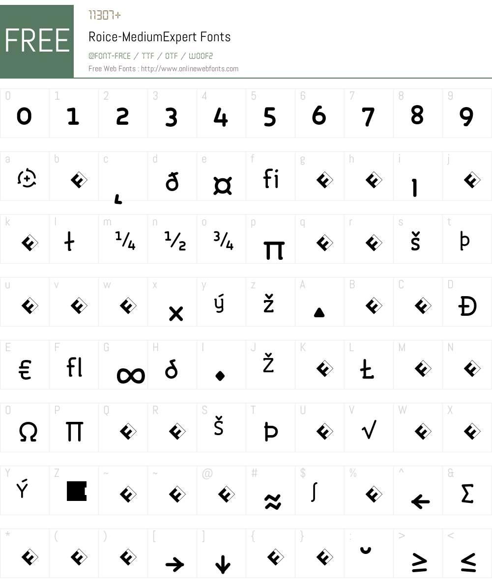Roice-MediumExpert Font Screenshots