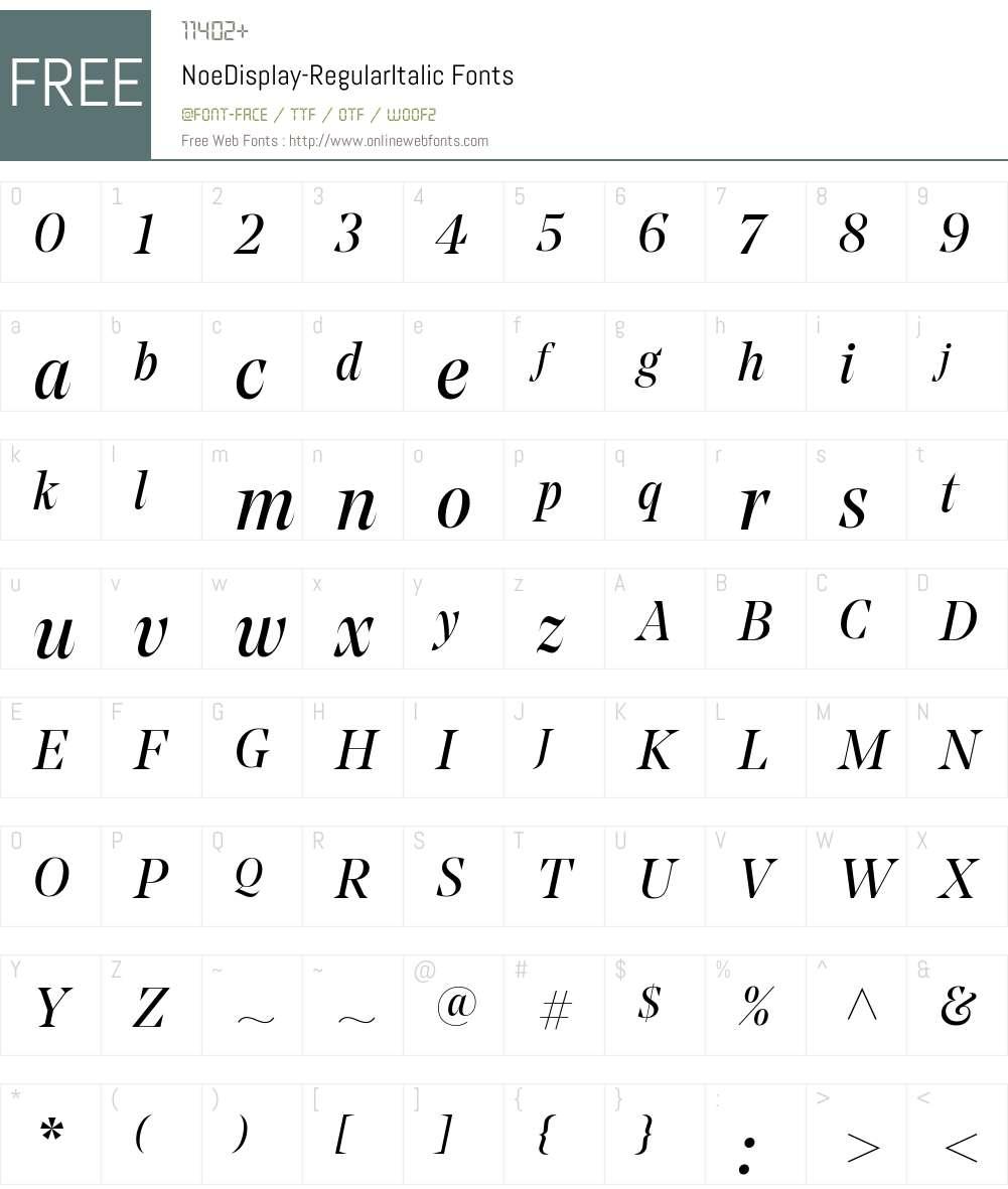 Noe Display Regular Font Screenshots