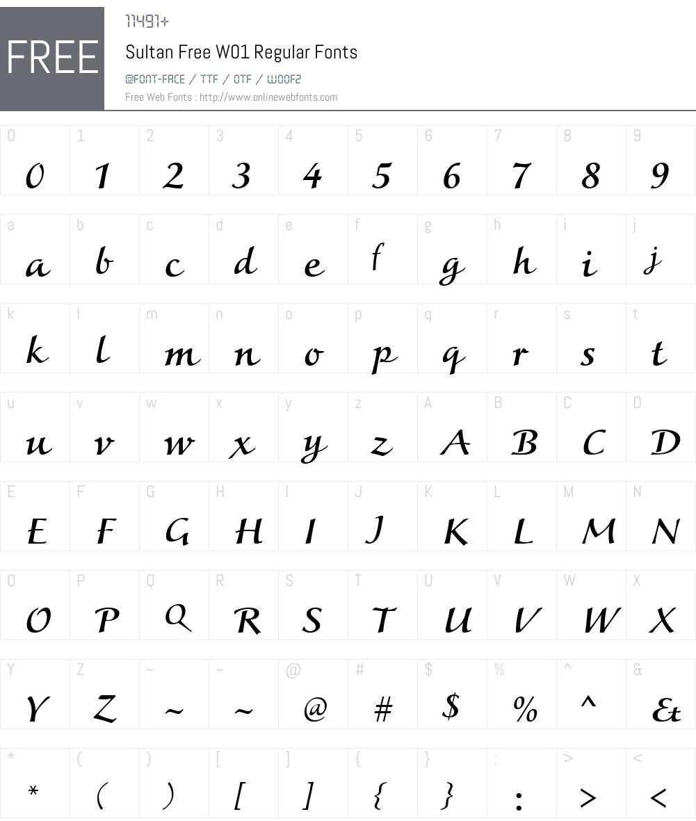 SultanFreeW01-Regular Font Screenshots