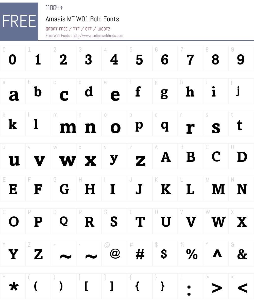 AmasisMTW01-Bold Font Screenshots