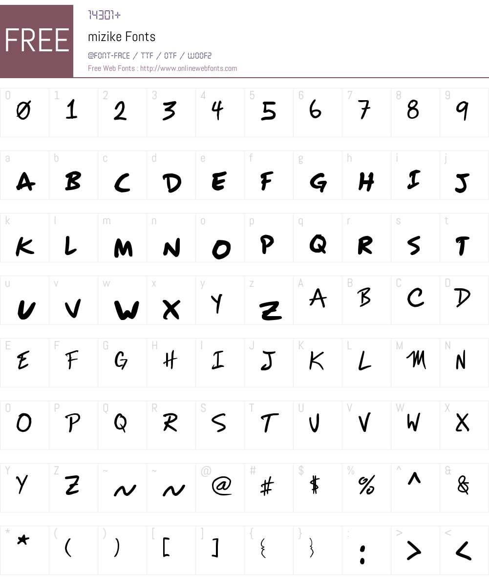 mizike Font Screenshots