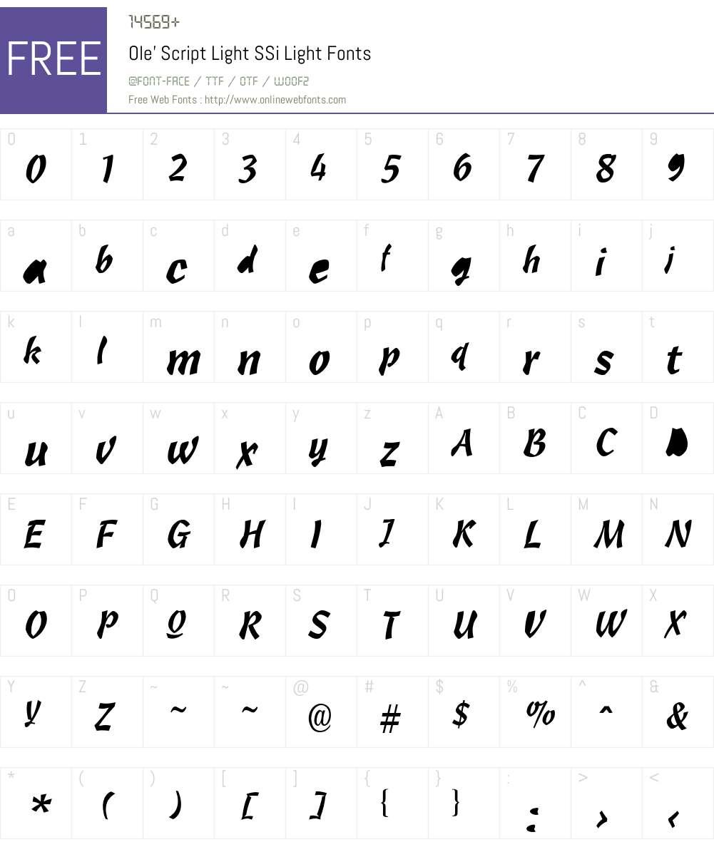 Ole' Script Light SSi Font Screenshots