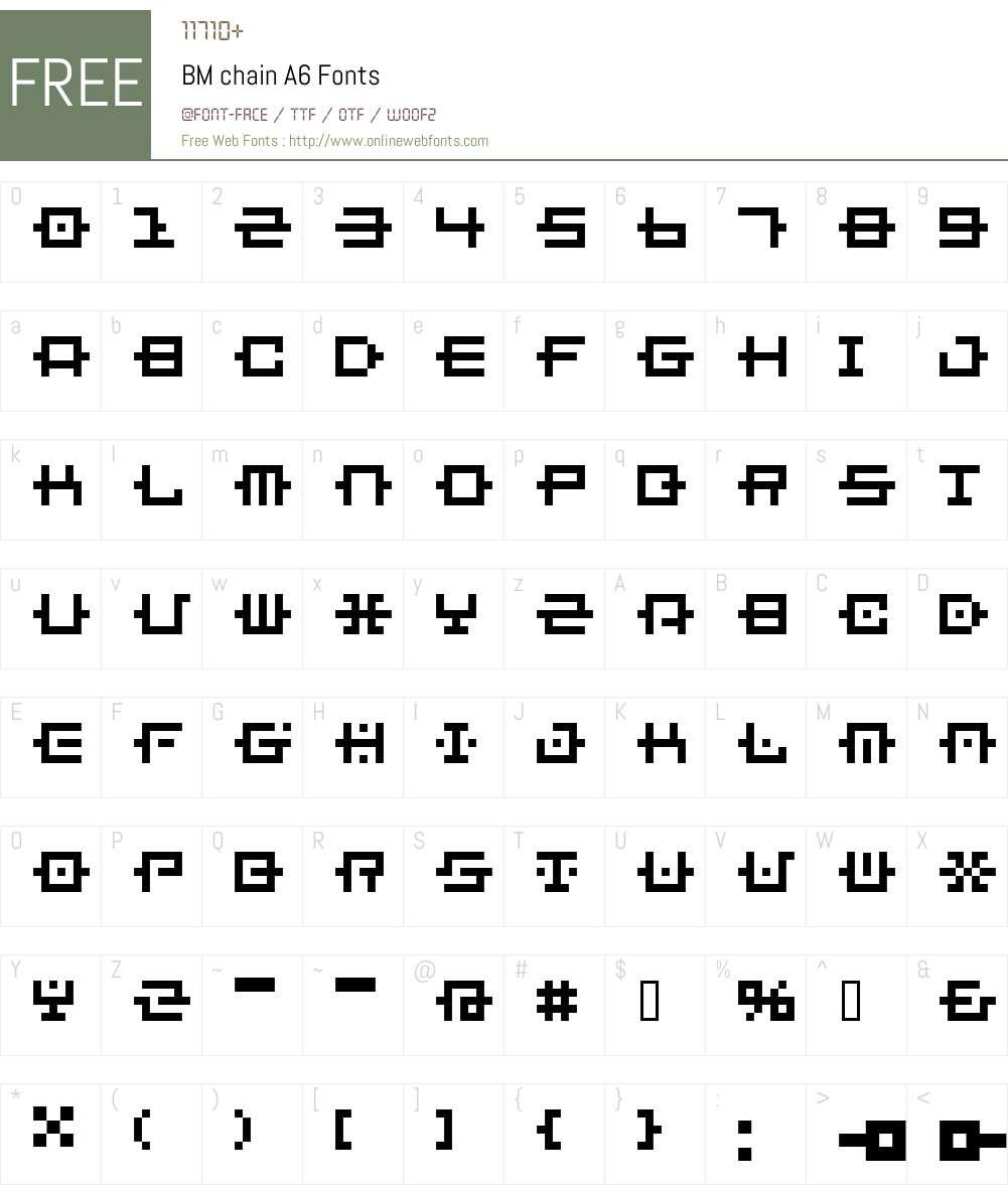 BM chain Font Screenshots