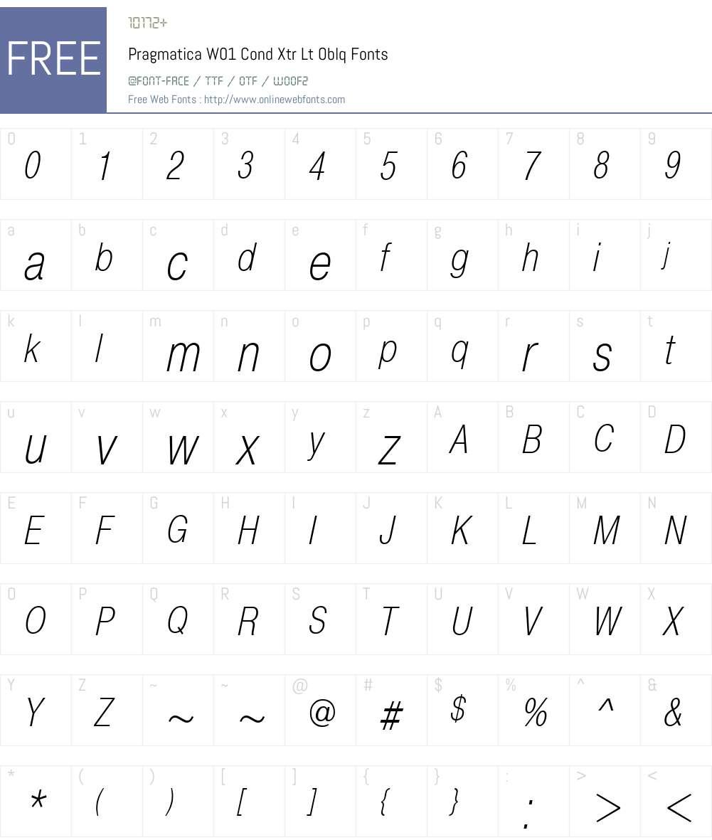 PragmaticaW01-CondXtrLtOblq Font Screenshots