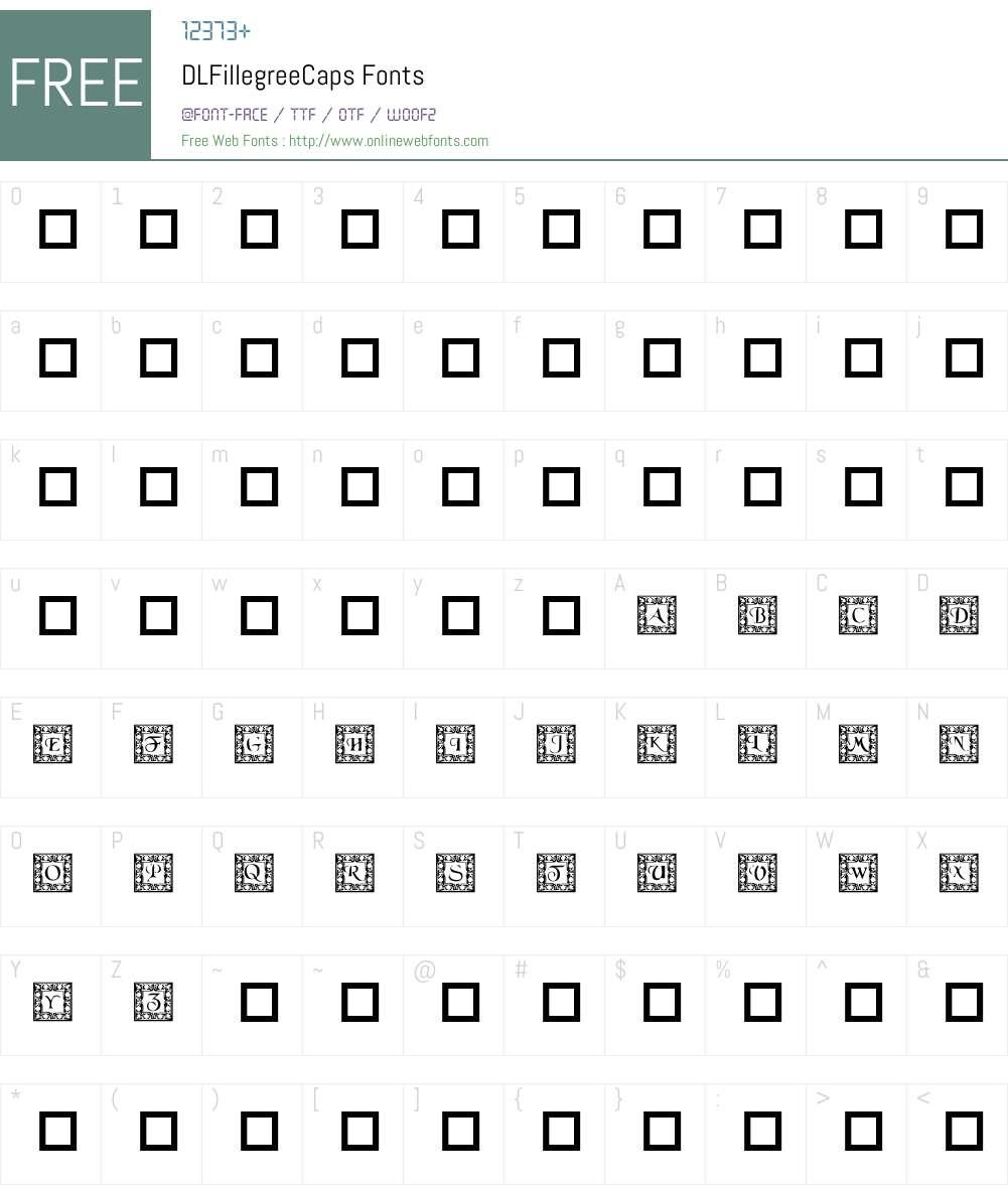 DLFillegreeCaps Font Screenshots