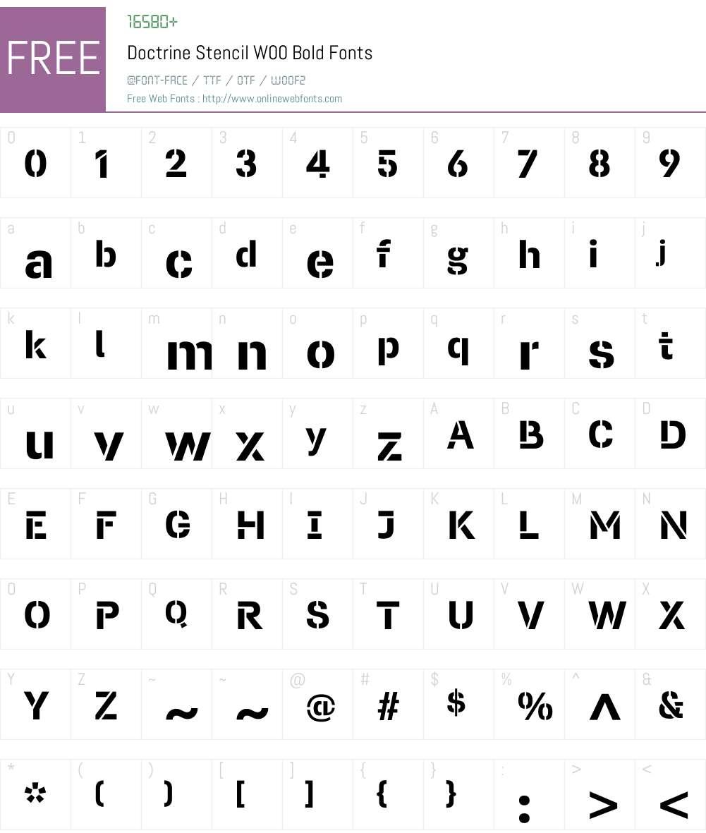 DoctrineStencilW00-Bold Font Screenshots