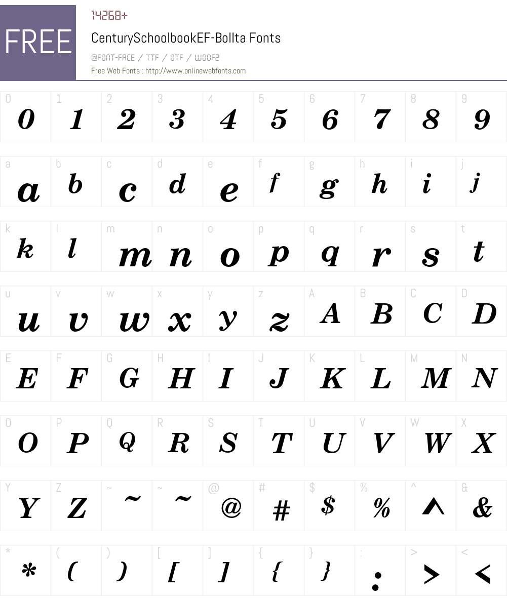 CenturySchoolbookEF Font Screenshots