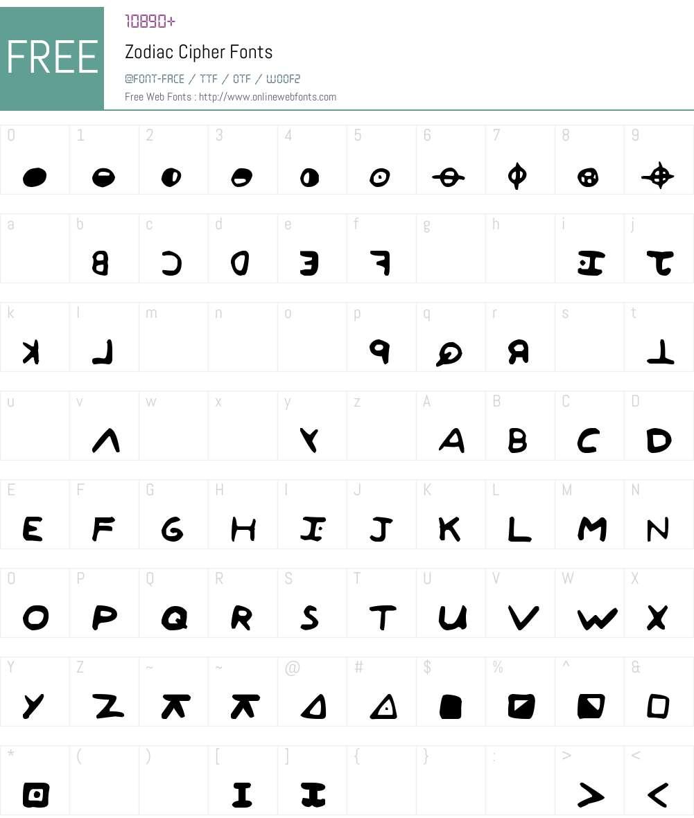 Zodiac Cipher Font Screenshots