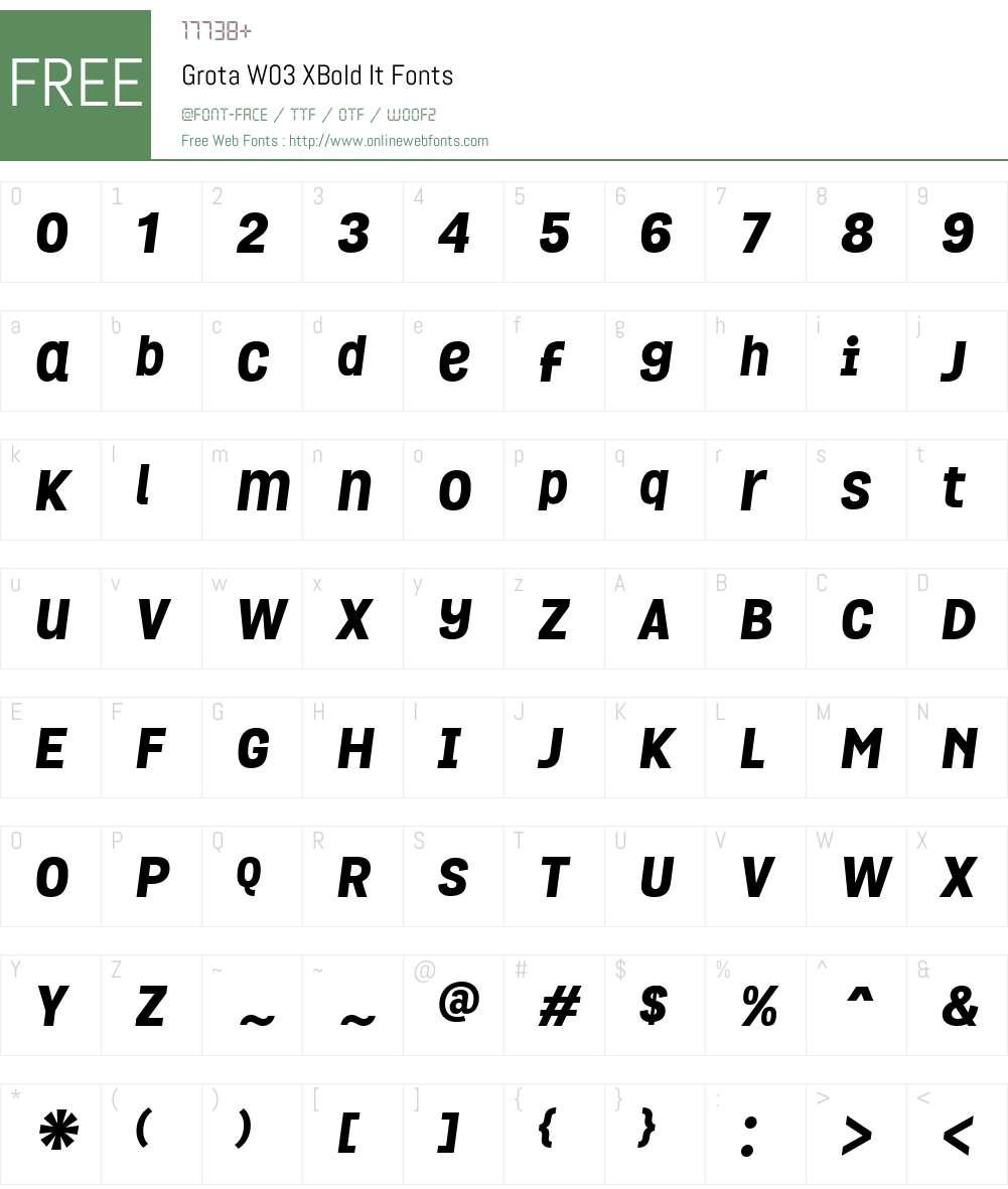 GrotaW03-XBoldIt Font Screenshots