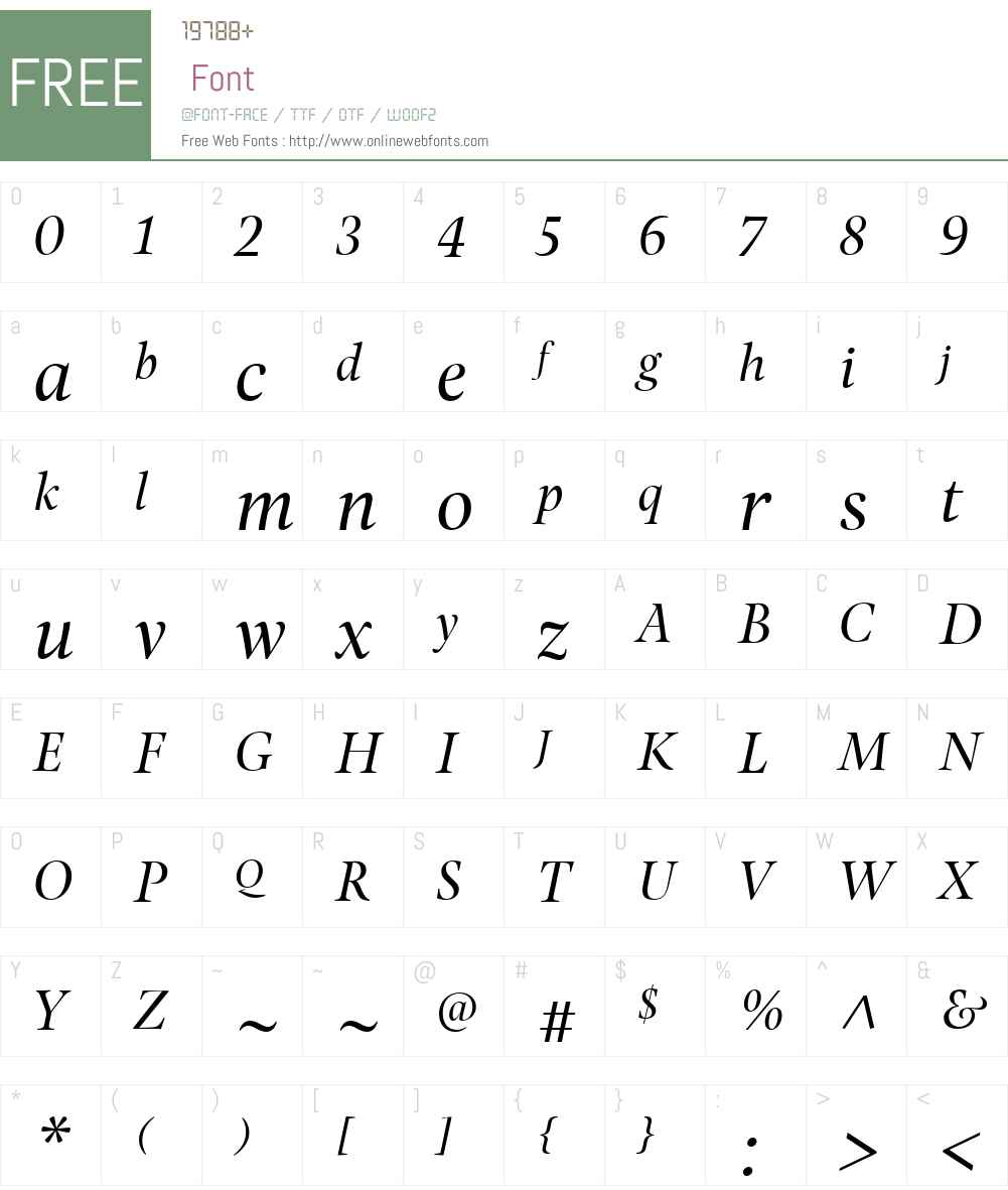 PonaDisplayW01-BookItalic Font Screenshots