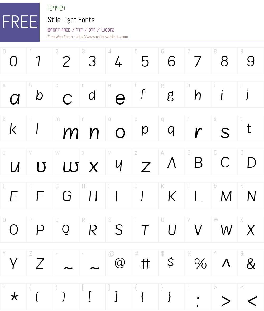StileLight Font Screenshots