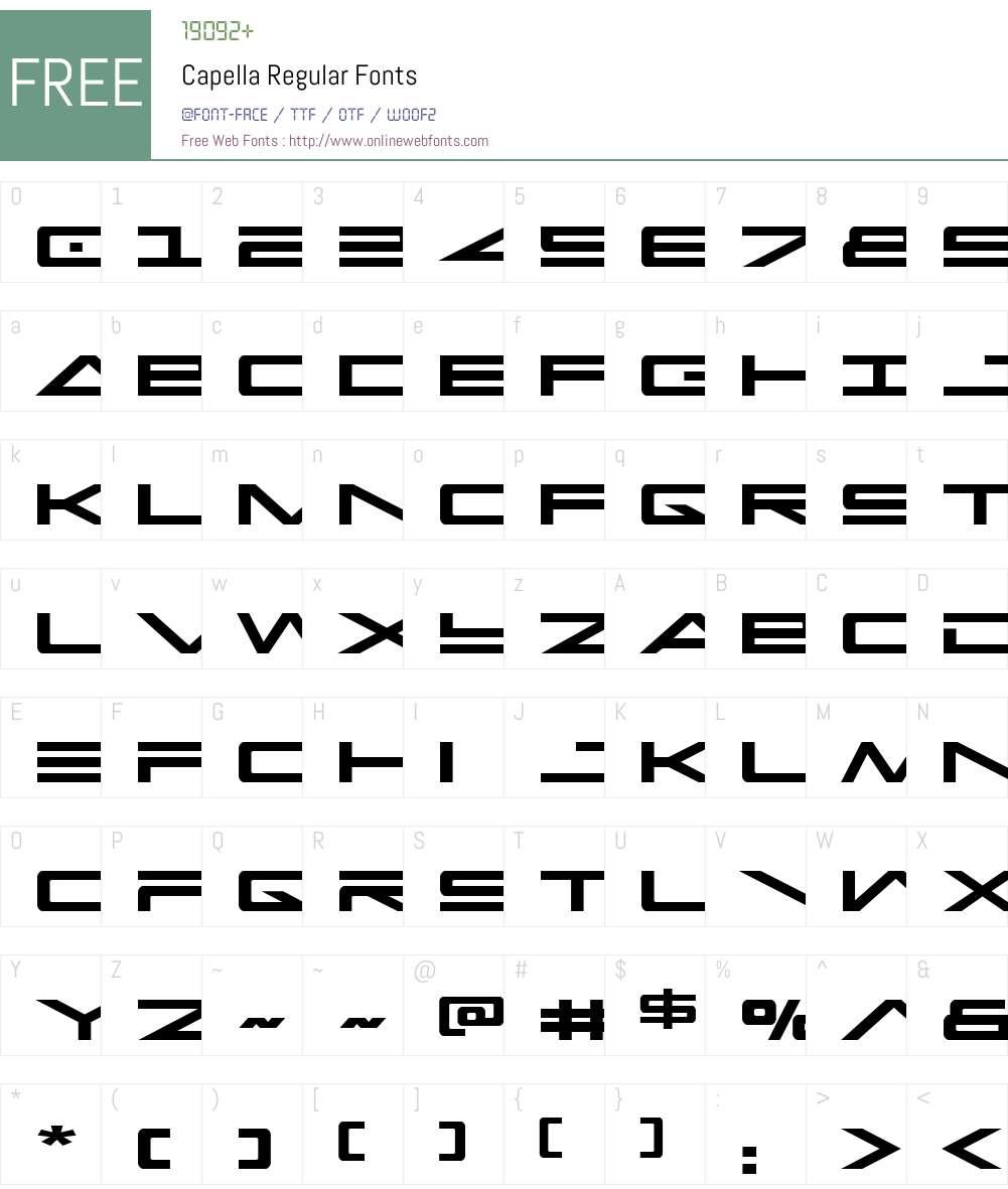 Capella Font Screenshots