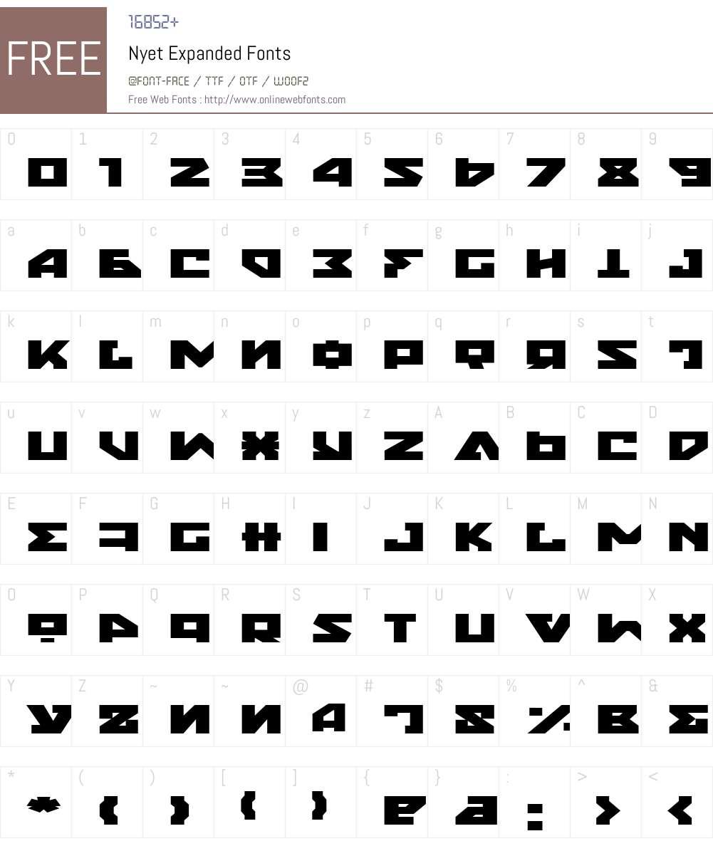 Nyet Expanded Font Screenshots