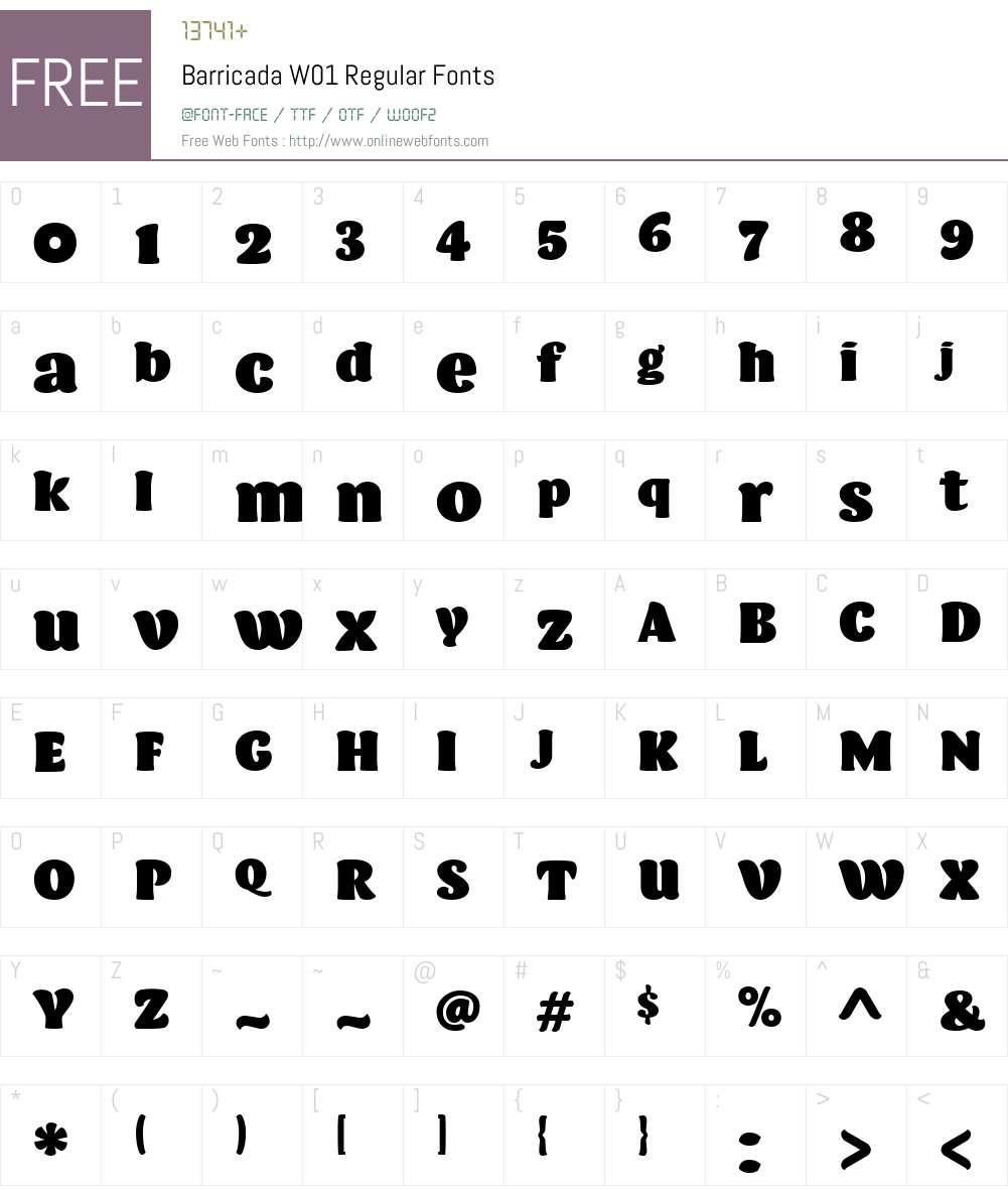 BarricadaW01-Regular Font Screenshots
