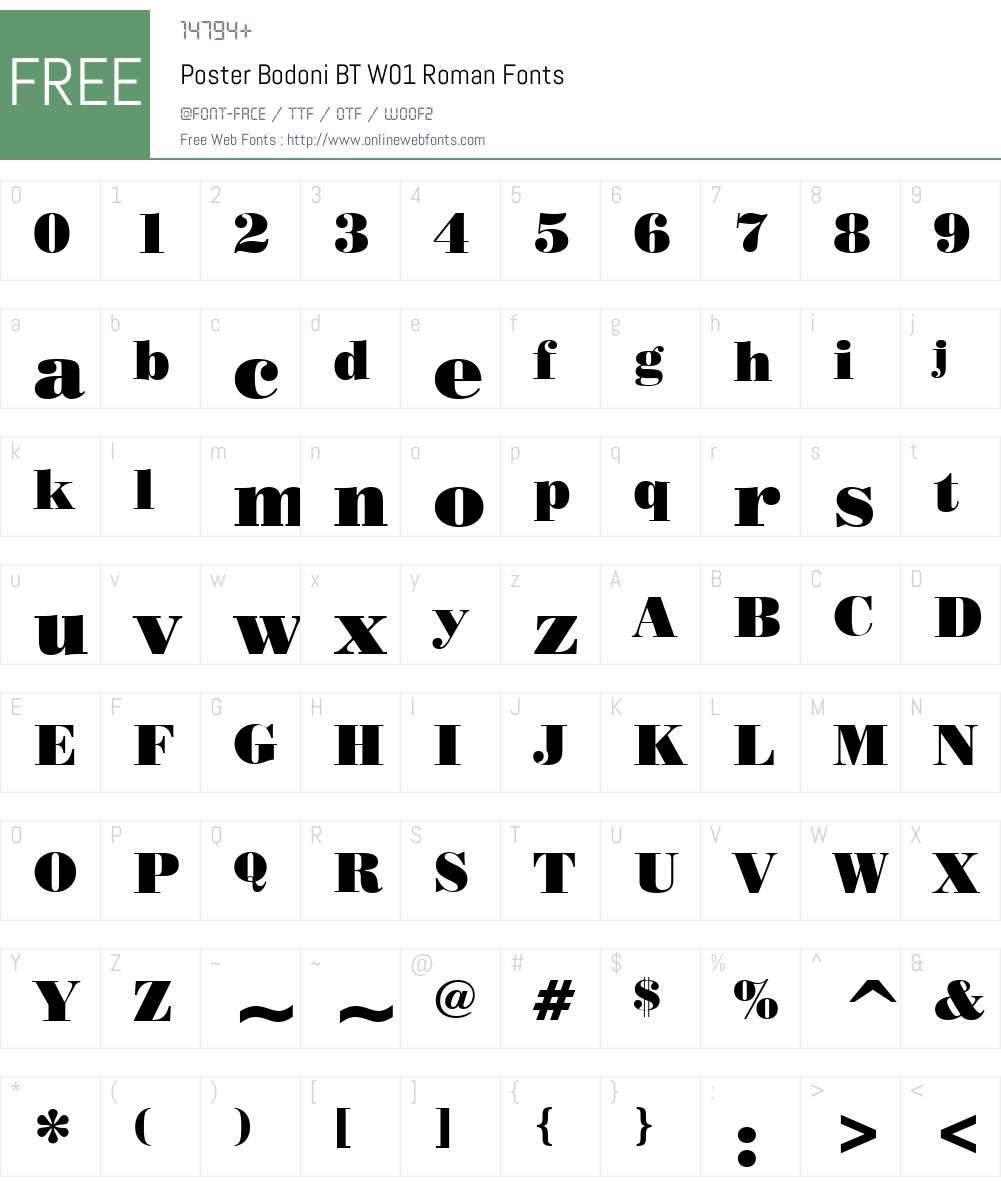 PosterBodoniBTW01-Roman Font Screenshots