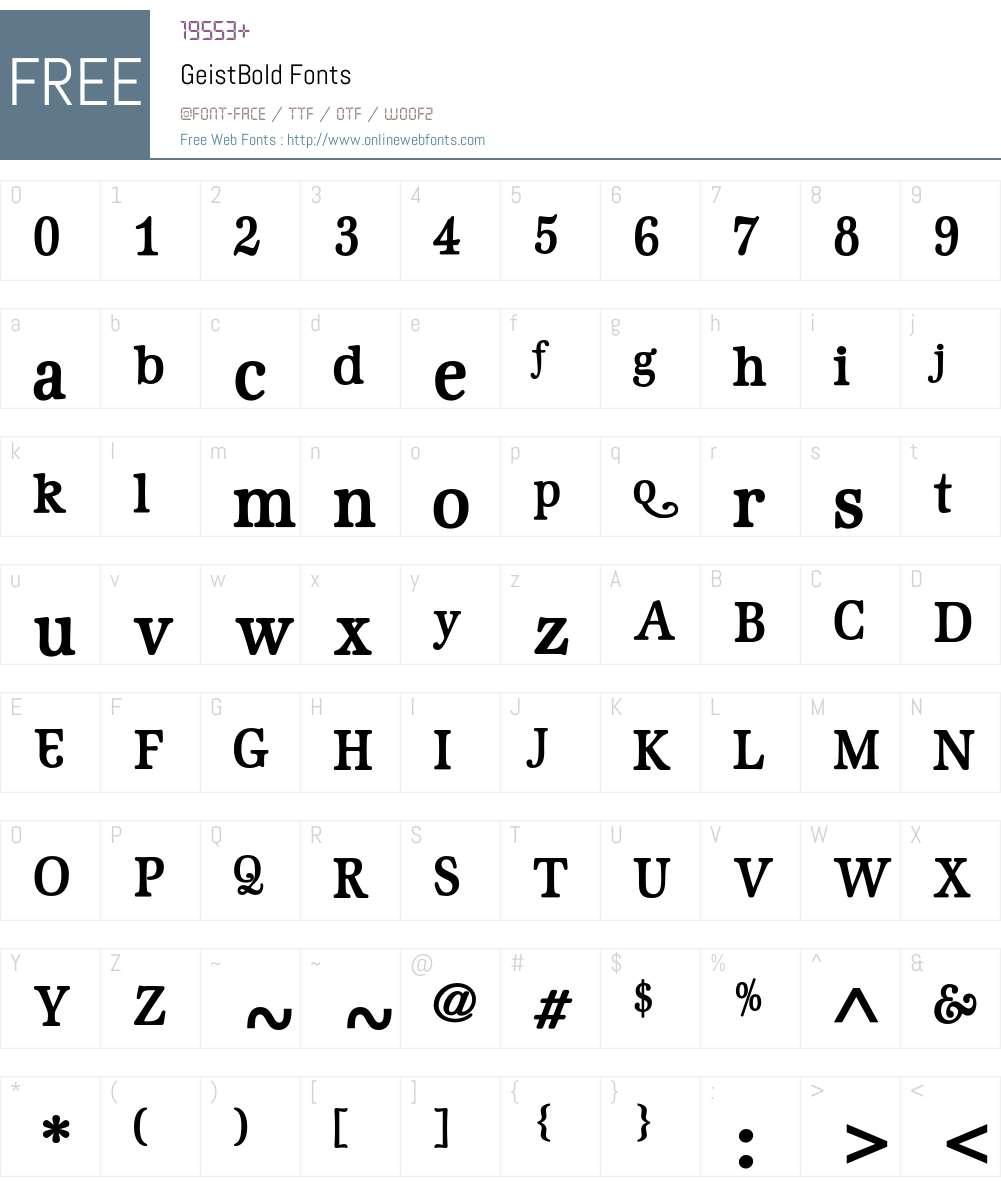 GeistBold Font Screenshots