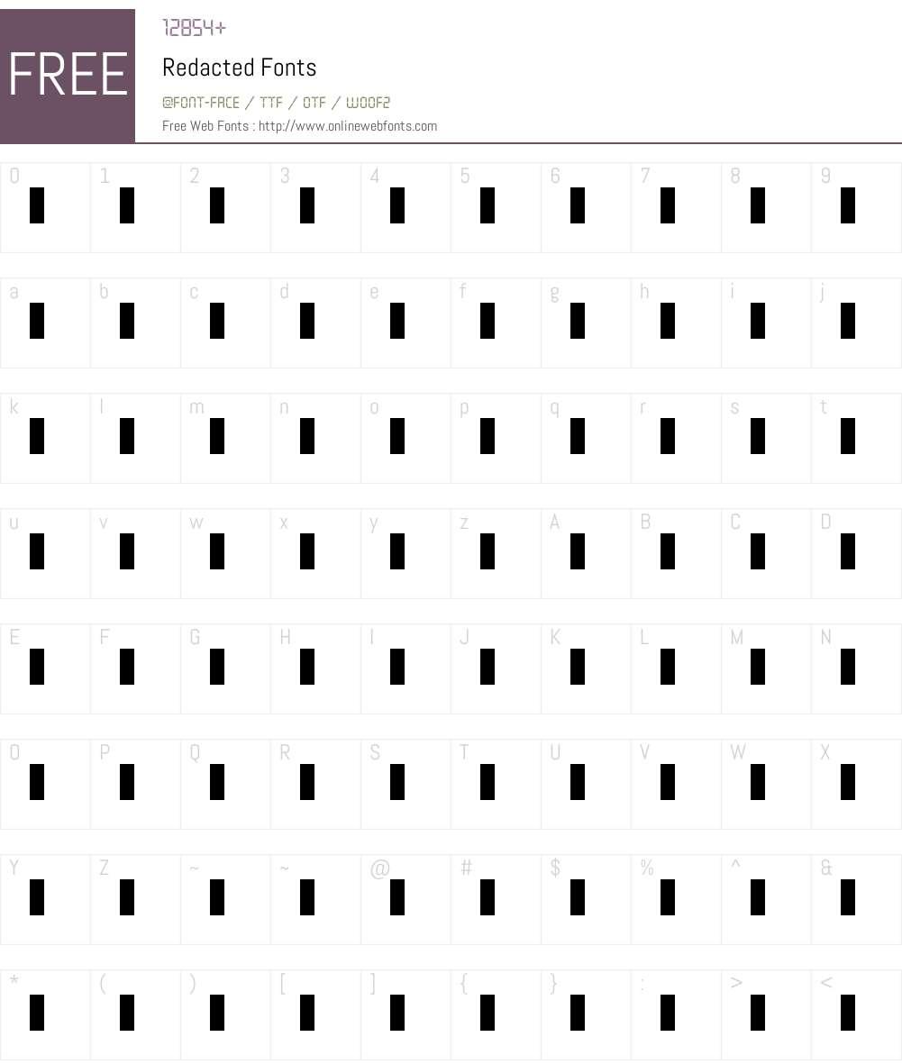 Redacted Font Screenshots