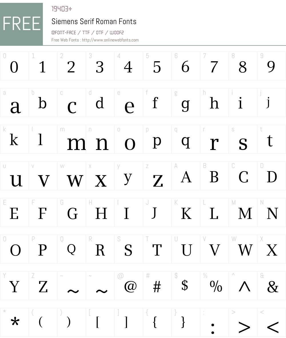 Siemens Serif Font Screenshots