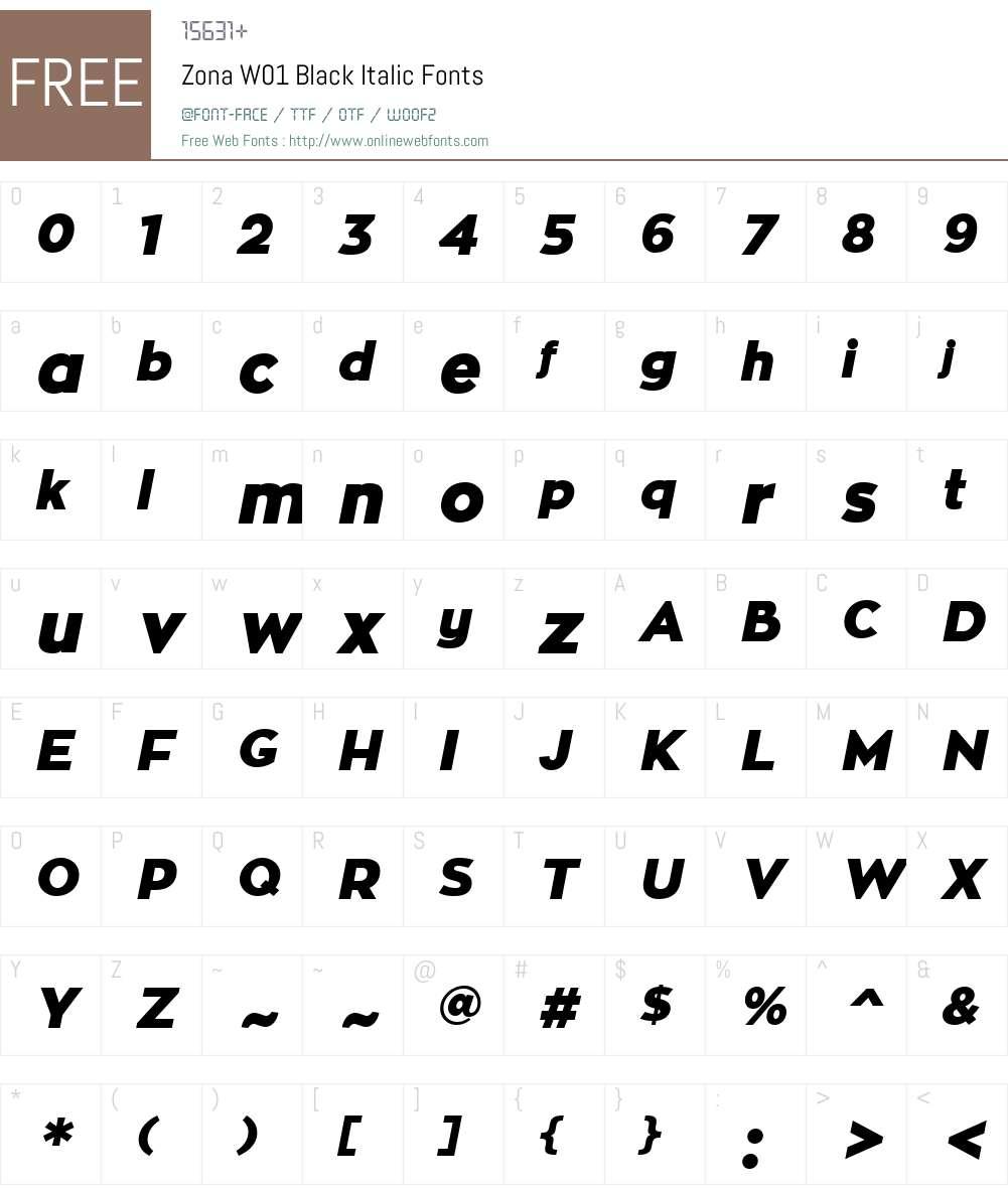 ZonaW01-BlackItalic Font Screenshots