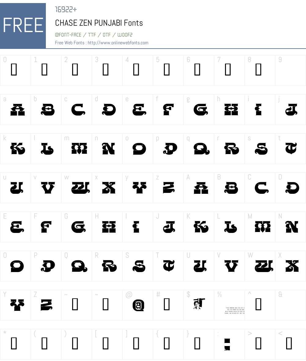 CHASE ZEN PUNJABI Font Screenshots
