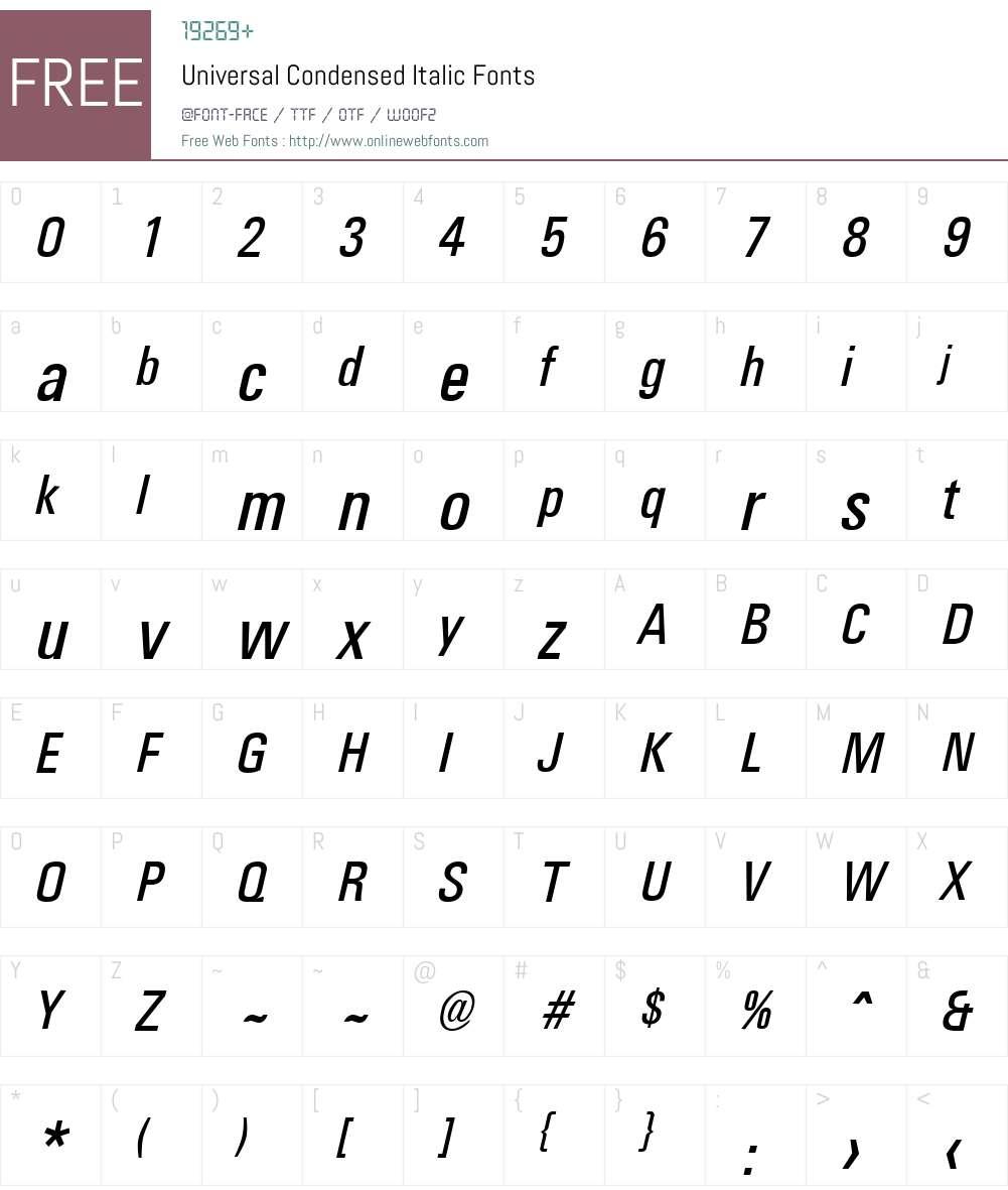Universal Condensed Font Screenshots