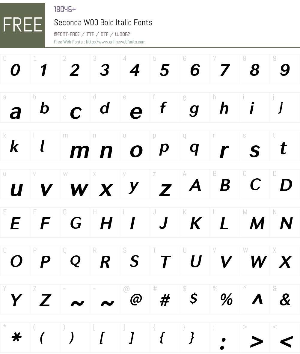 SecondaW00-BoldItalic Font Screenshots