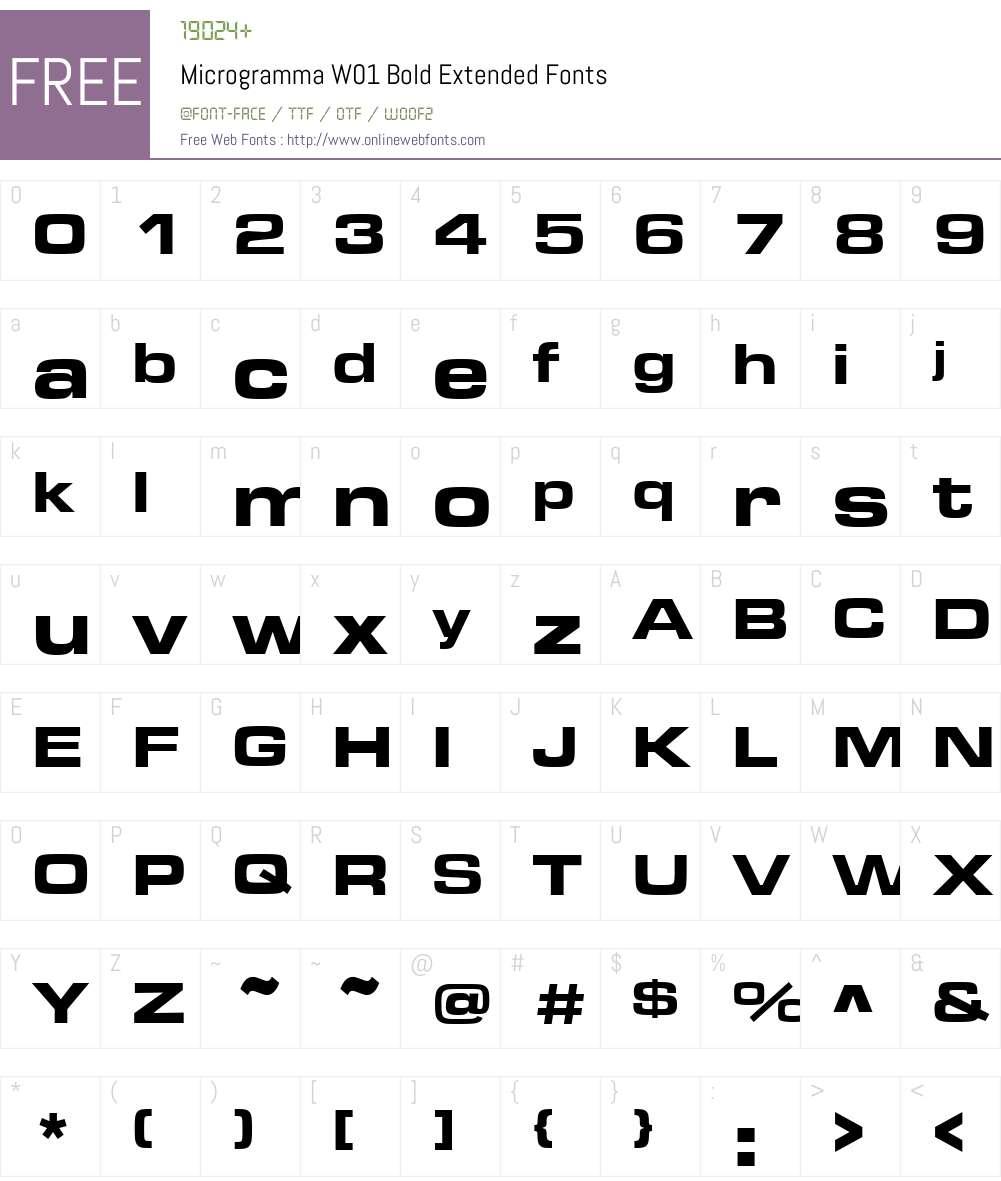 MicrogrammaW01-BoldExtended Font Screenshots