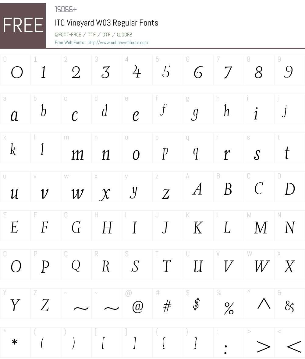 ITCVineyardW03-Regular Font Screenshots