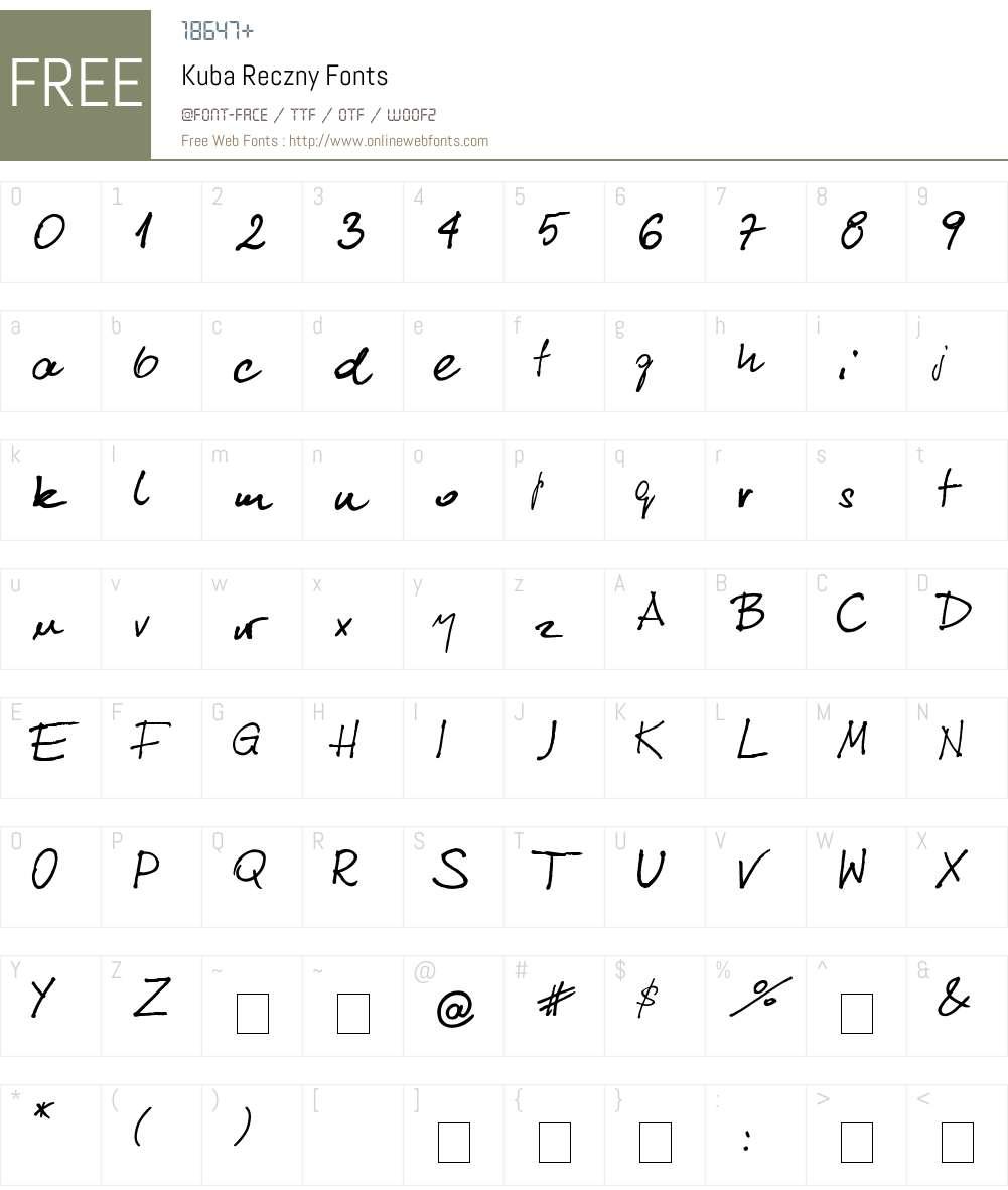 Kuba Reczny Font Screenshots