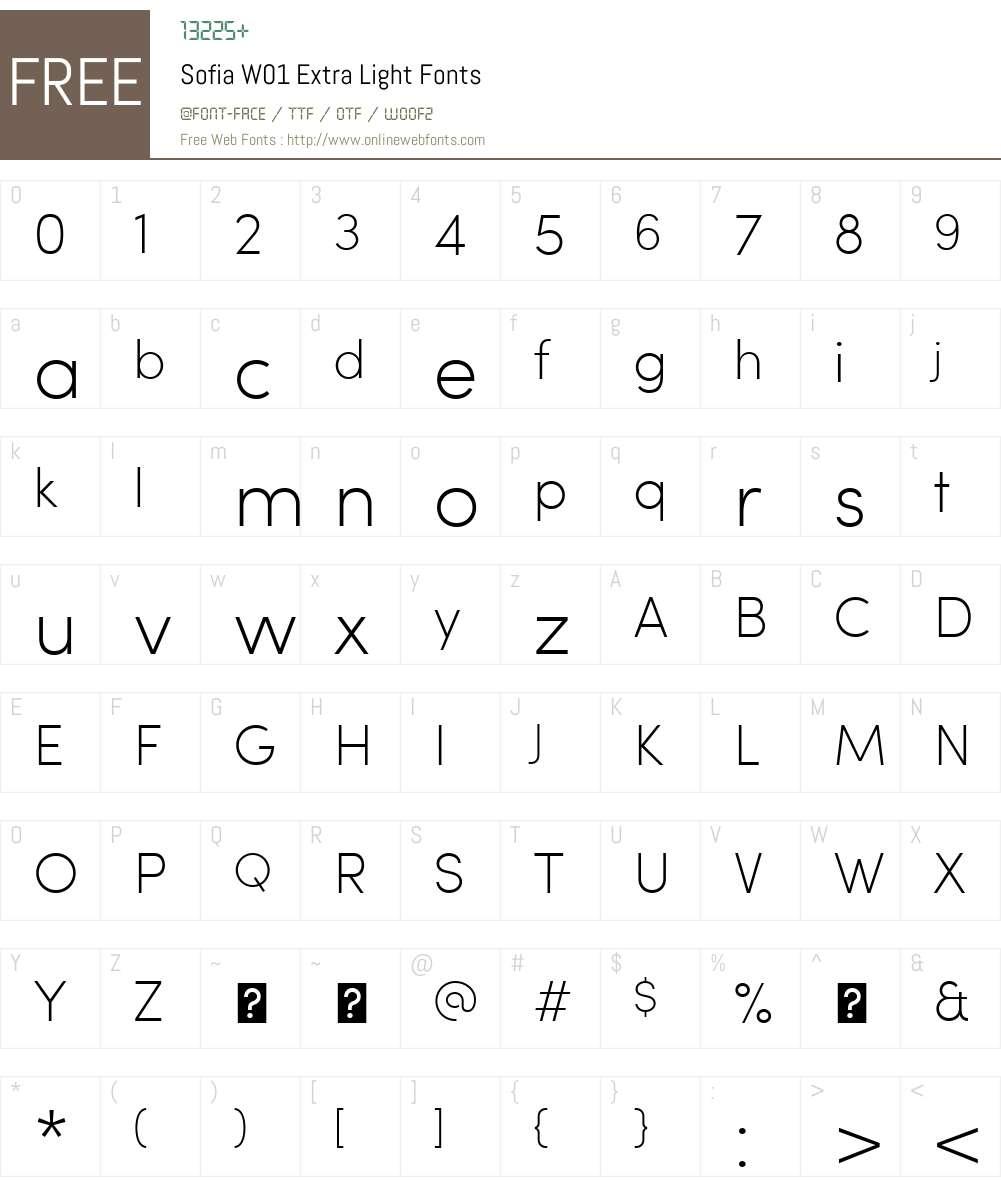 SofiaW01-ExtraLight Font Screenshots