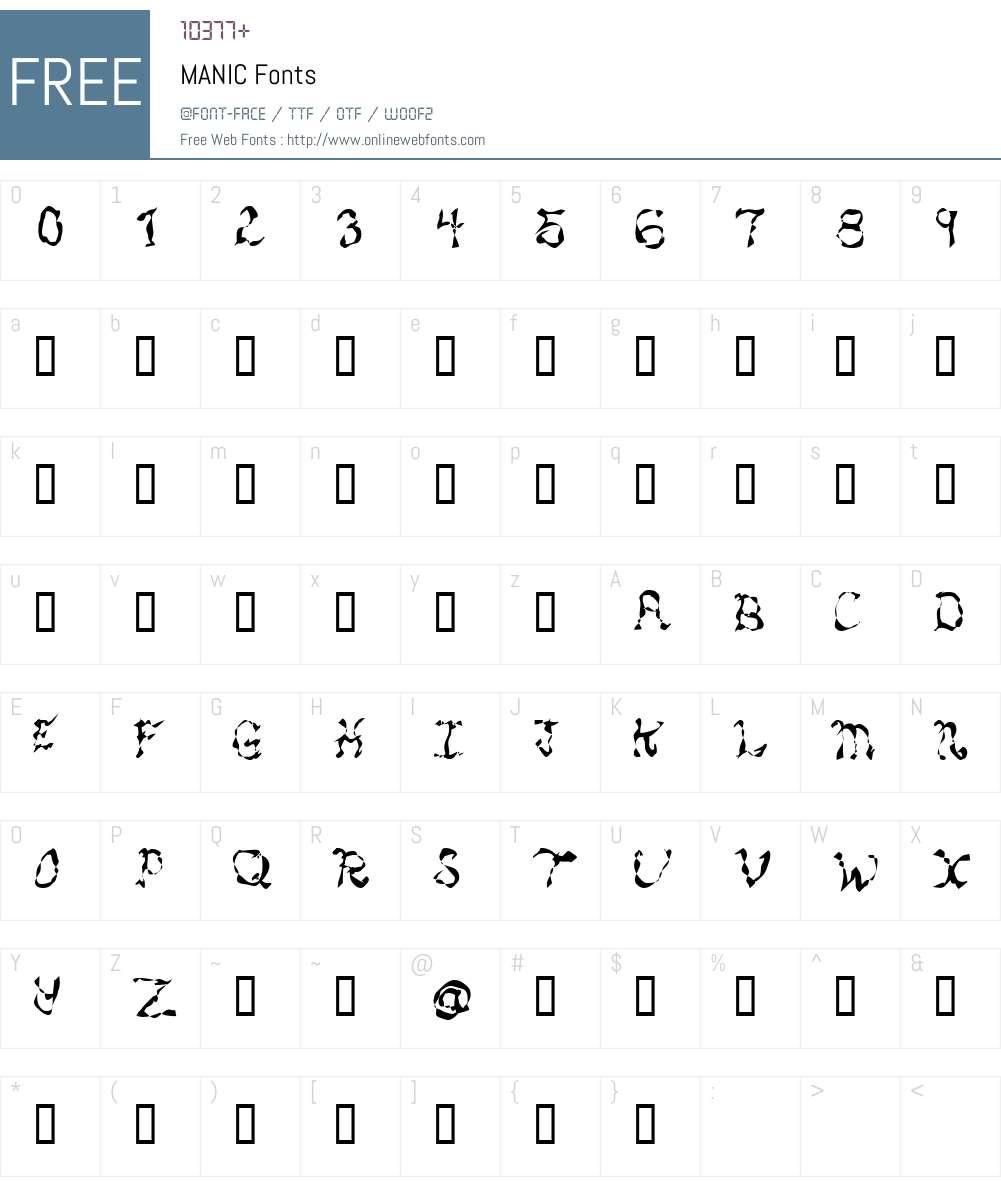 MANIC Font Screenshots