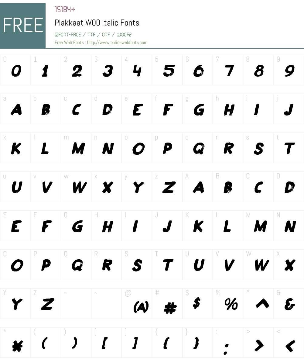 PlakkaatW00-Italic Font Screenshots